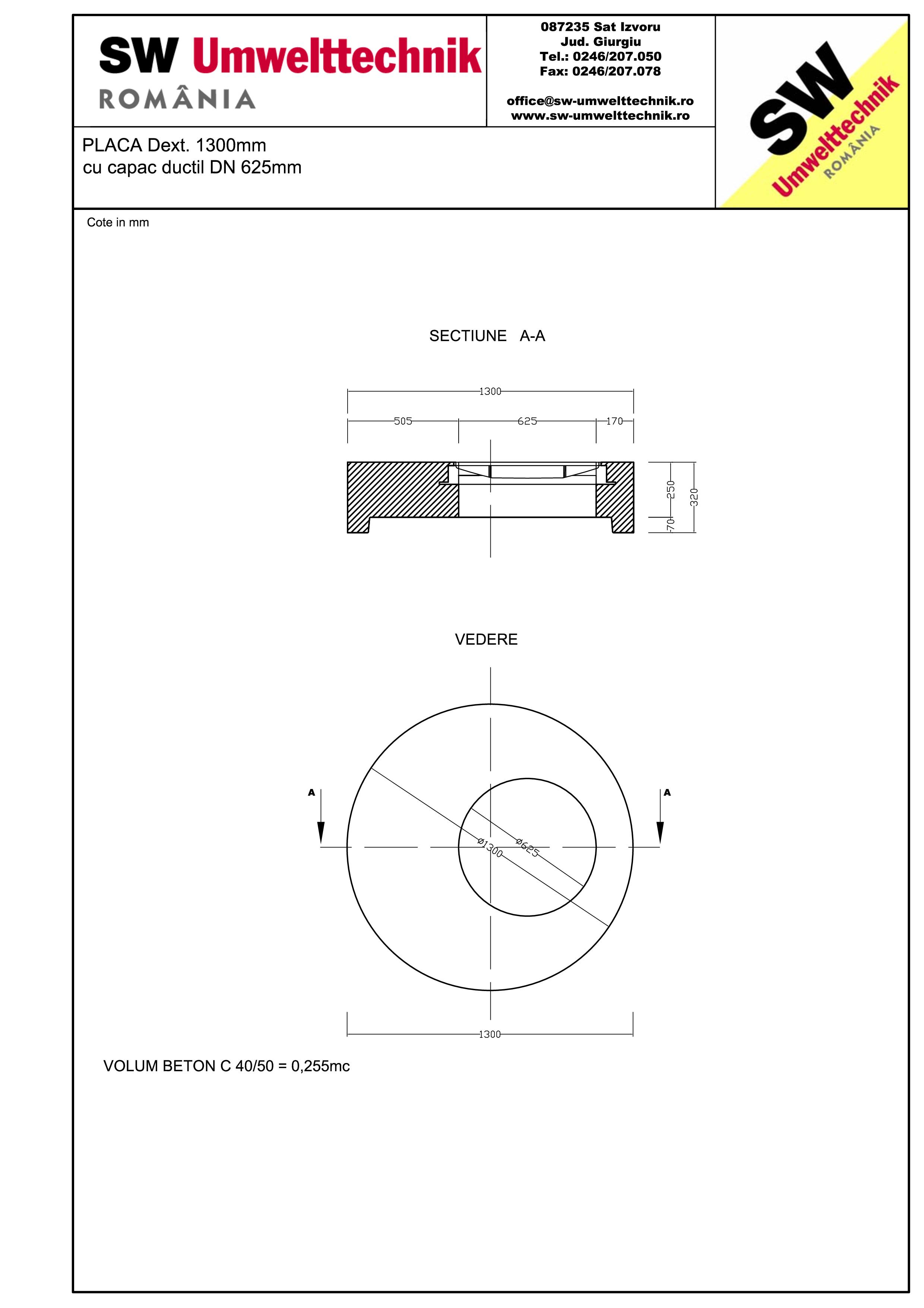 Pagina 1 - CAD-PDF Placa Dext.1300 H250  cu capac ductil DN625 SW UMWELTTECHNIK Detaliu de produs