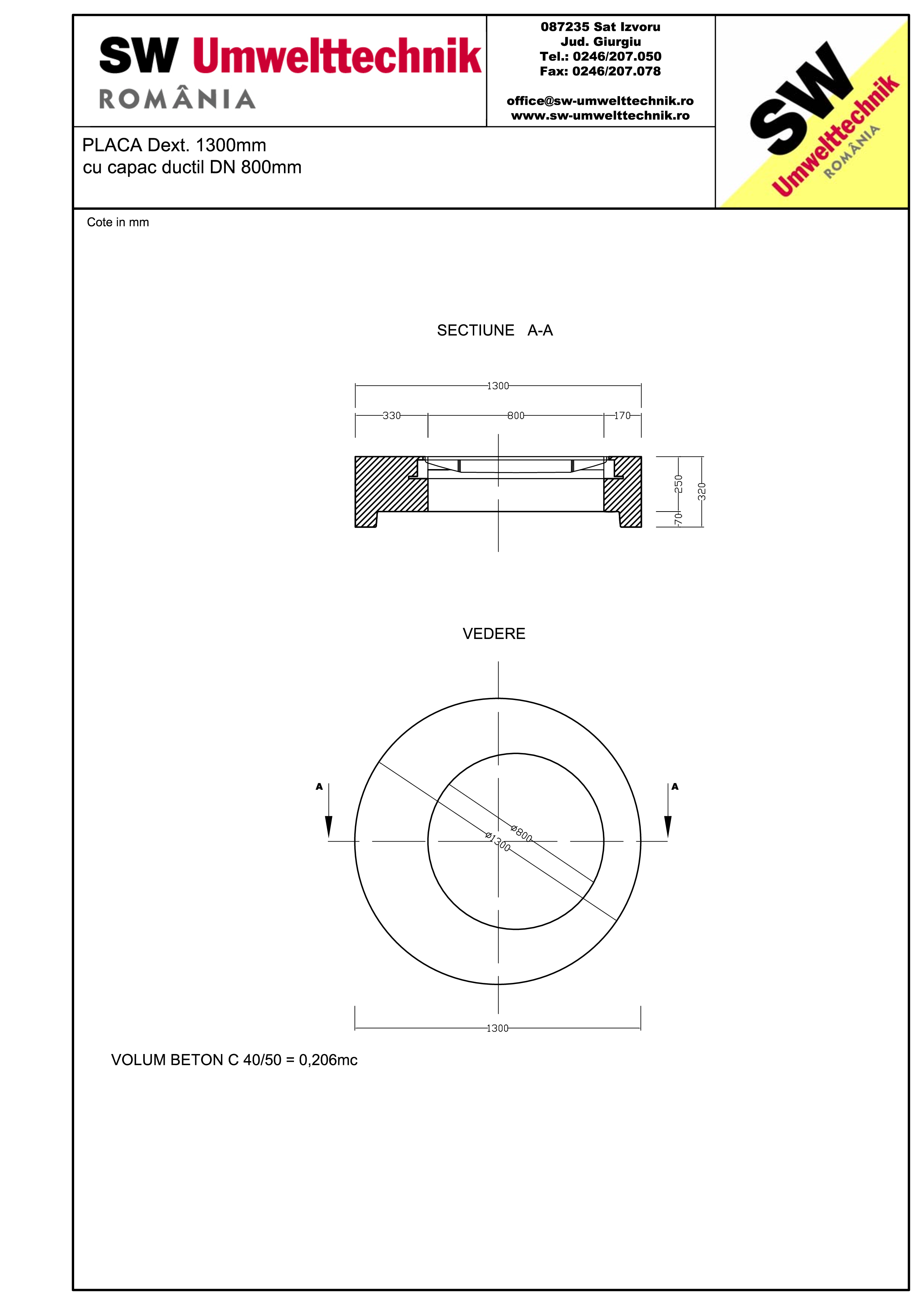 Pagina 1 - CAD-PDF Placa Dext.1300 H250 cu capac ductil DN800 SW UMWELTTECHNIK Detaliu de produs