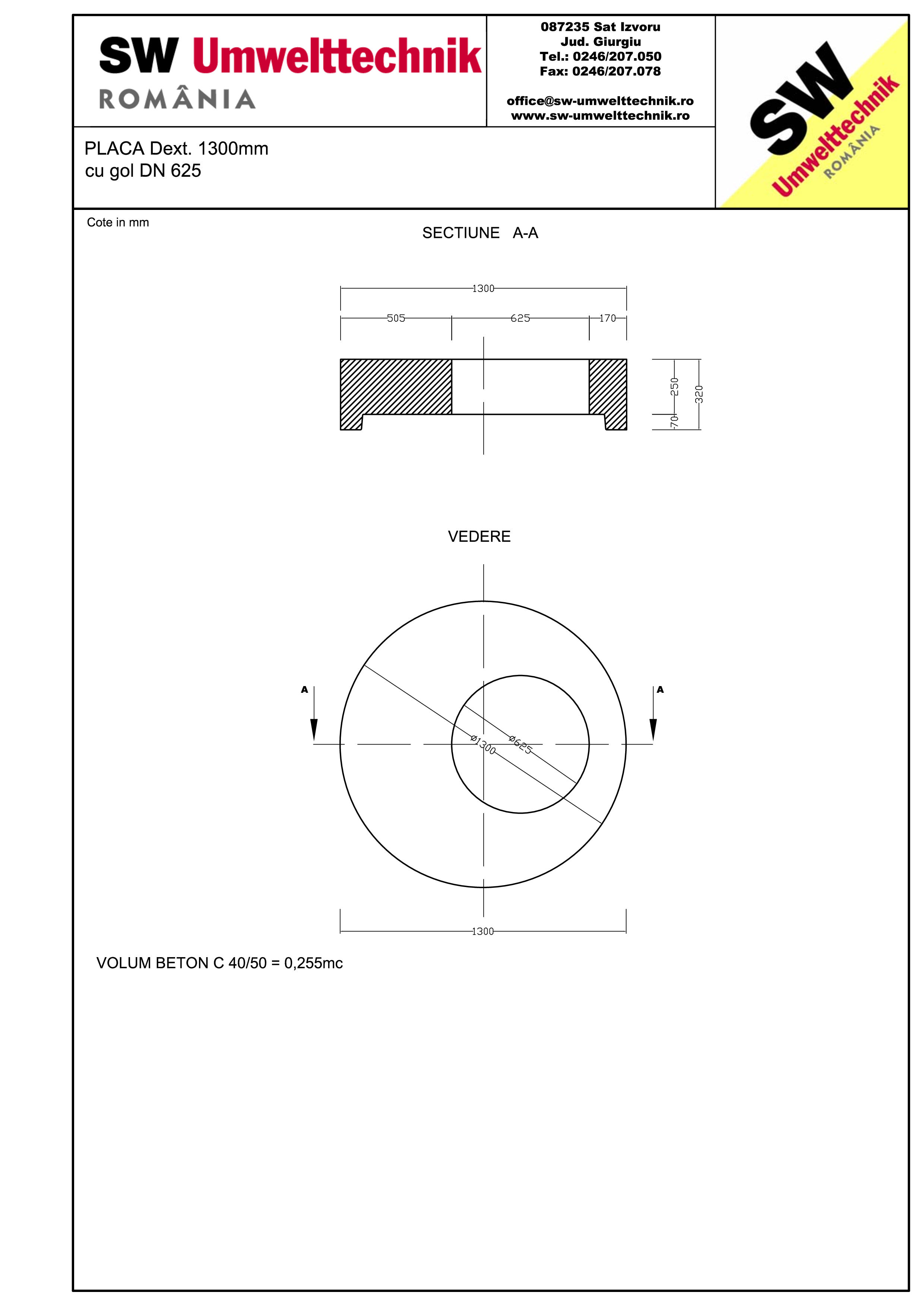 Pagina 1 - CAD-PDF Placa Dext.1300 H250 cu gol DN625 SW UMWELTTECHNIK Detaliu de produs
