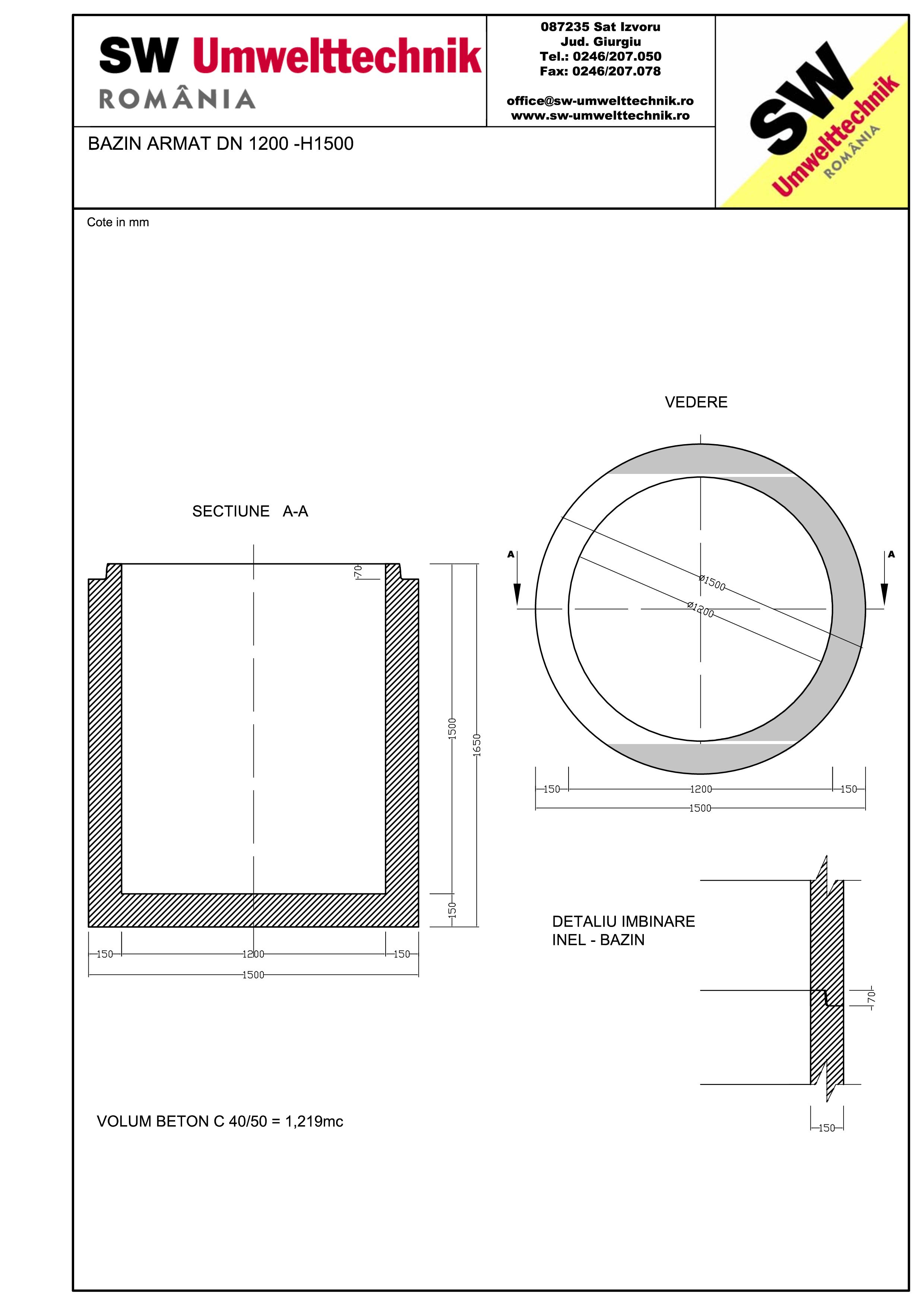 Pagina 1 - CAD-PDF Bazin armat DN1200 H1500 SW UMWELTTECHNIK Detaliu de produs
