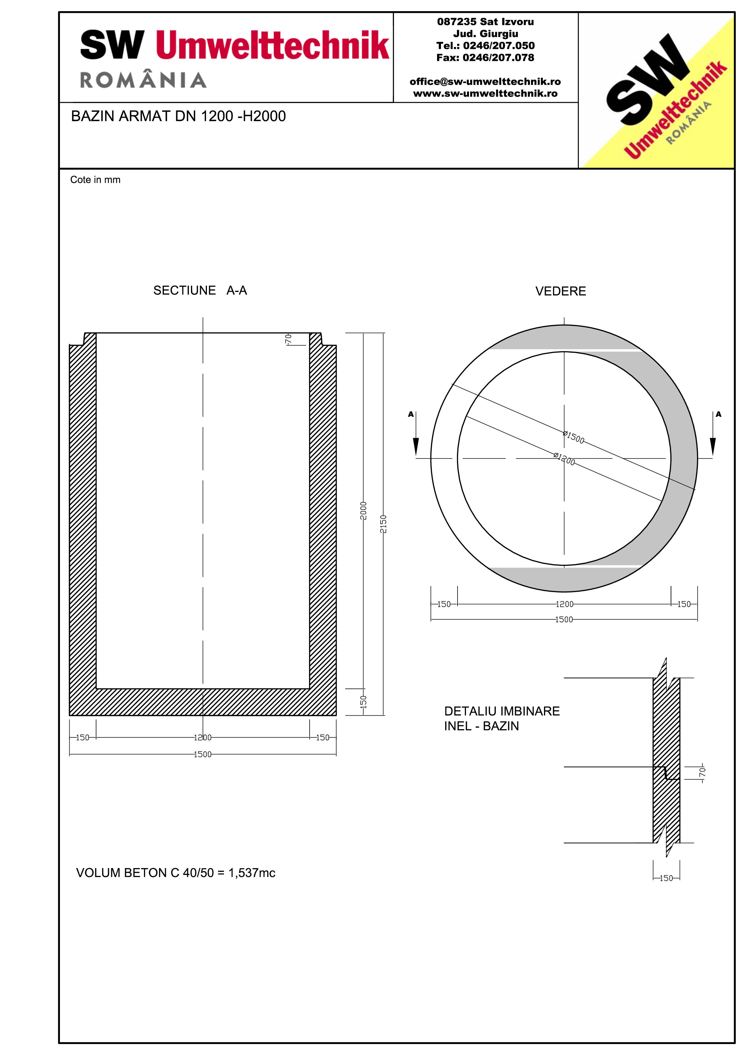 Pagina 1 - CAD-PDF Bazin armat DN1200 H2000 SW UMWELTTECHNIK Detaliu de produs
