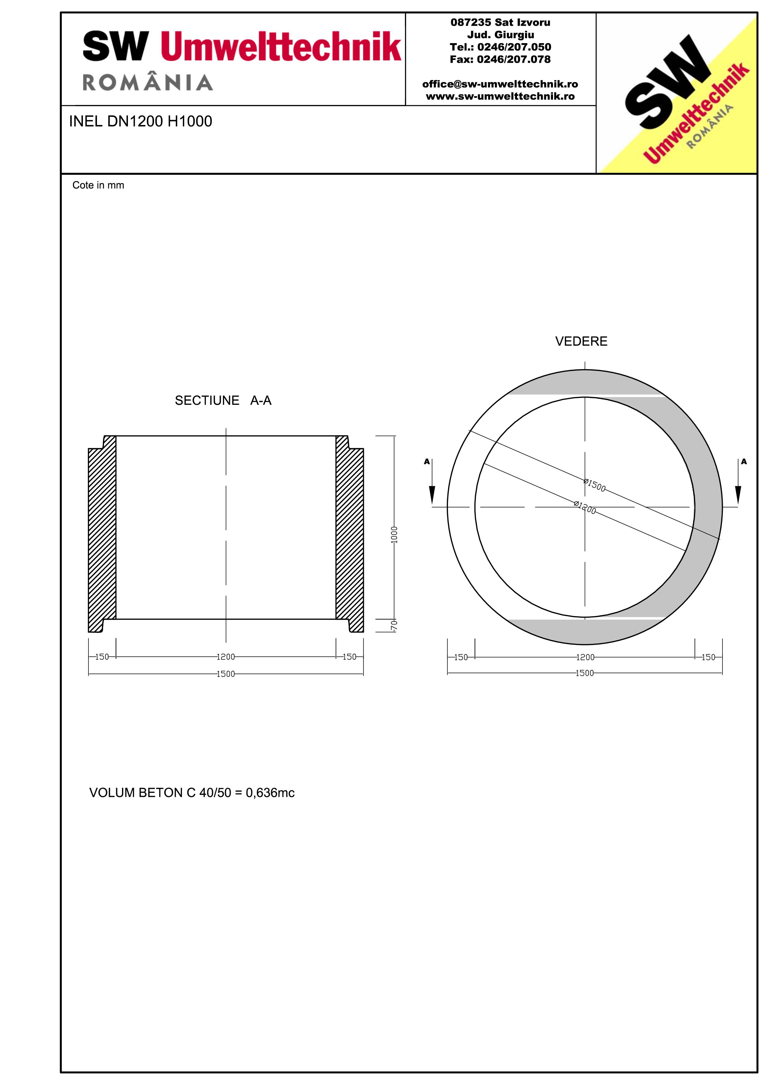 Pagina 1 - CAD-PDF Inel  DN1200 INEL H1000 SW UMWELTTECHNIK Detaliu de produs
