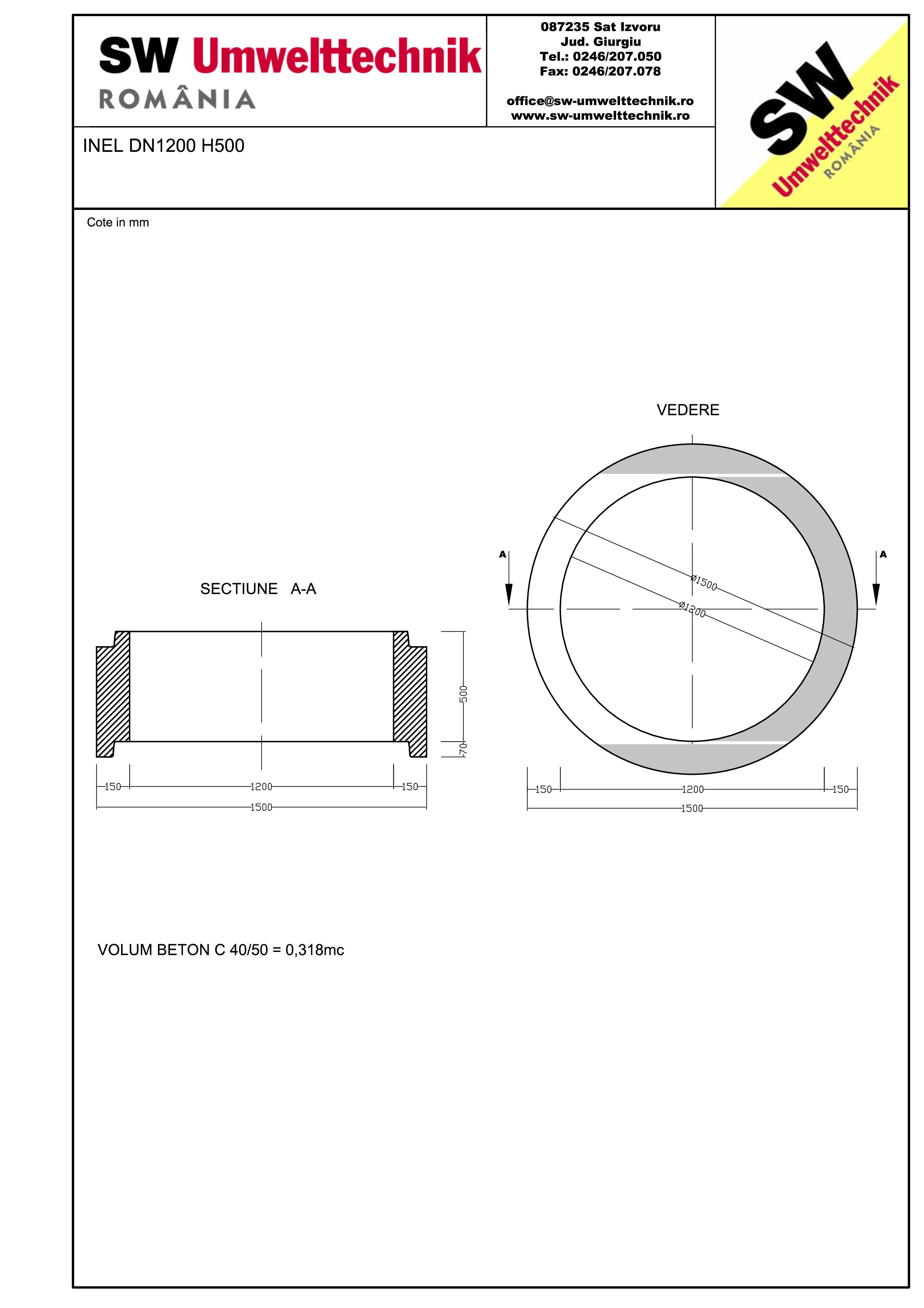 Pagina 1 - CAD-PDF Inel DN1200 INEL H500 SW UMWELTTECHNIK Detaliu de produs