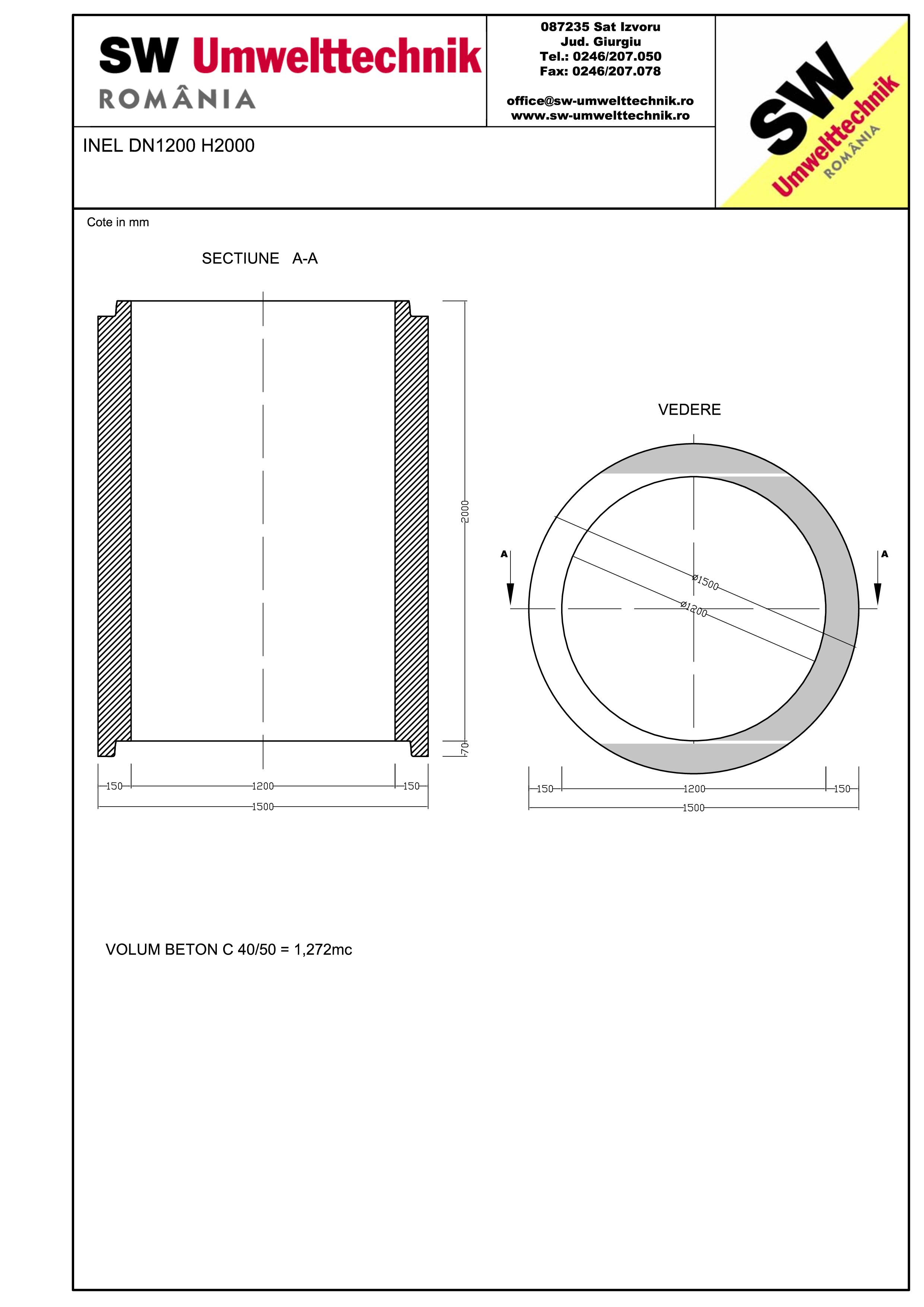 Pagina 1 - CAD-PDF Inel DN1200 INEL H2000 SW UMWELTTECHNIK Detaliu de produs
