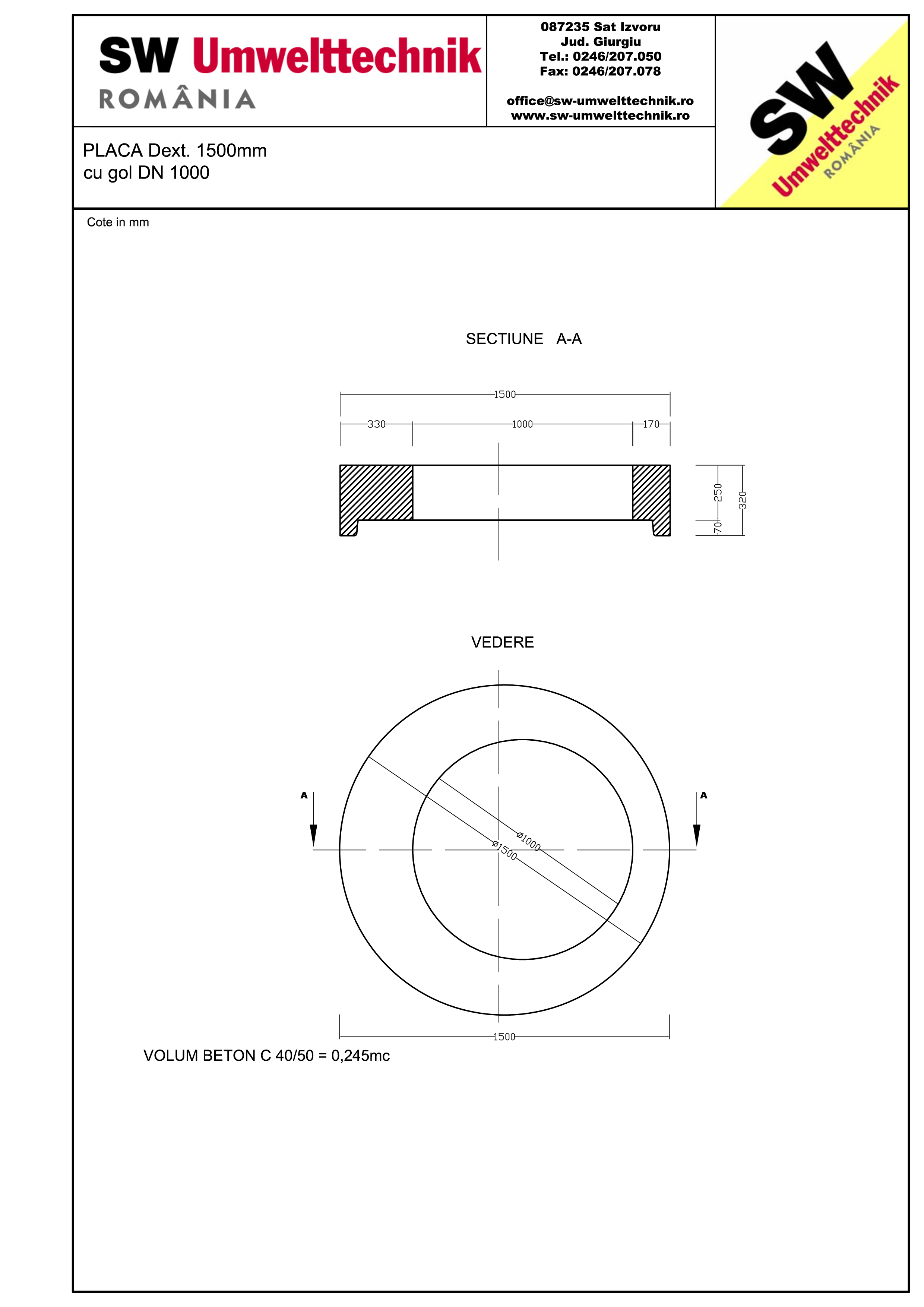 Pagina 1 - CAD-PDF Placa  Dext.1500 H250 cu gol DN1000 SW UMWELTTECHNIK Detaliu de produs