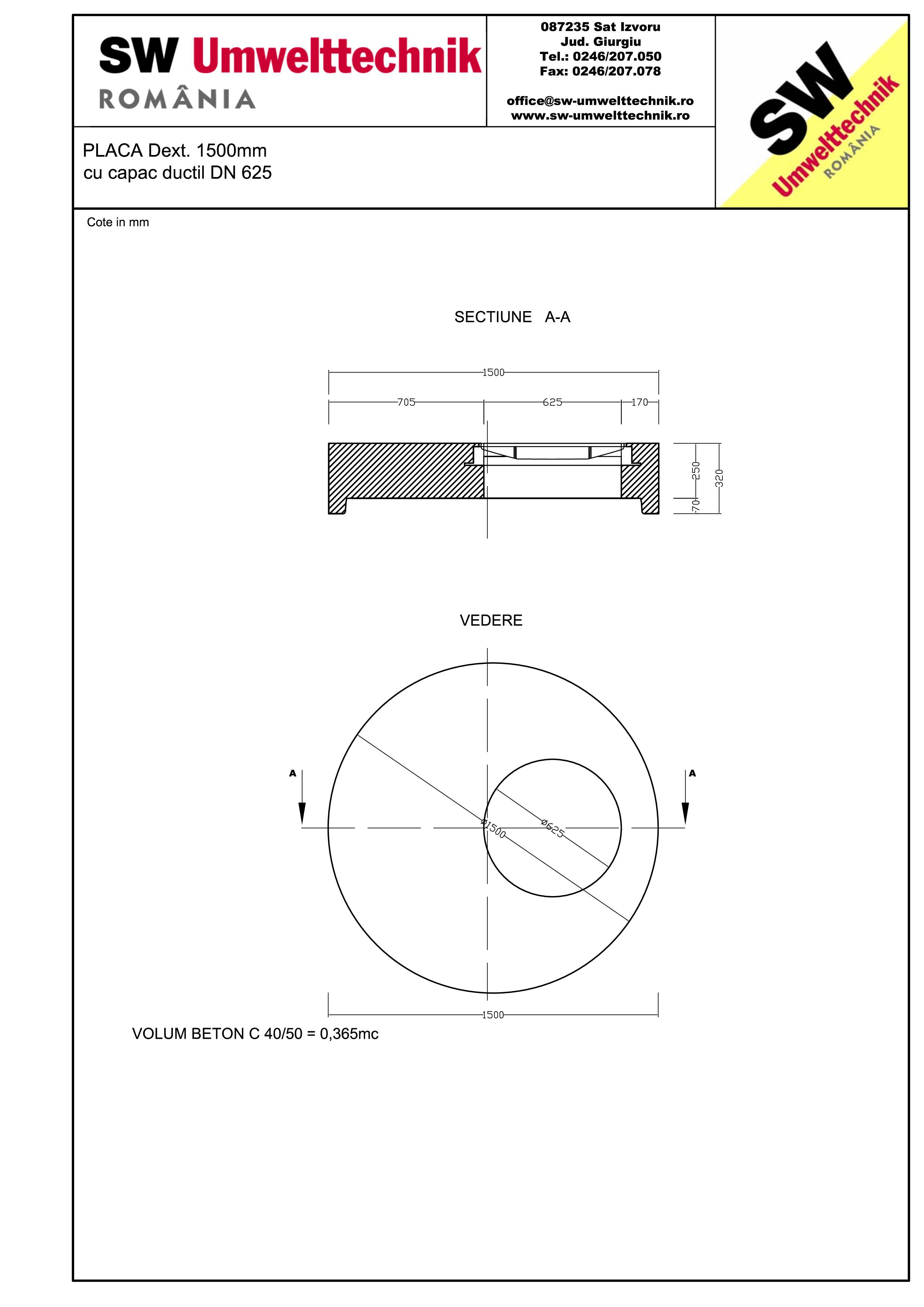 Pagina 1 - CAD-PDF Placa Dext.1500 H250 cu capac ductil DN625 SW UMWELTTECHNIK Detaliu de produs