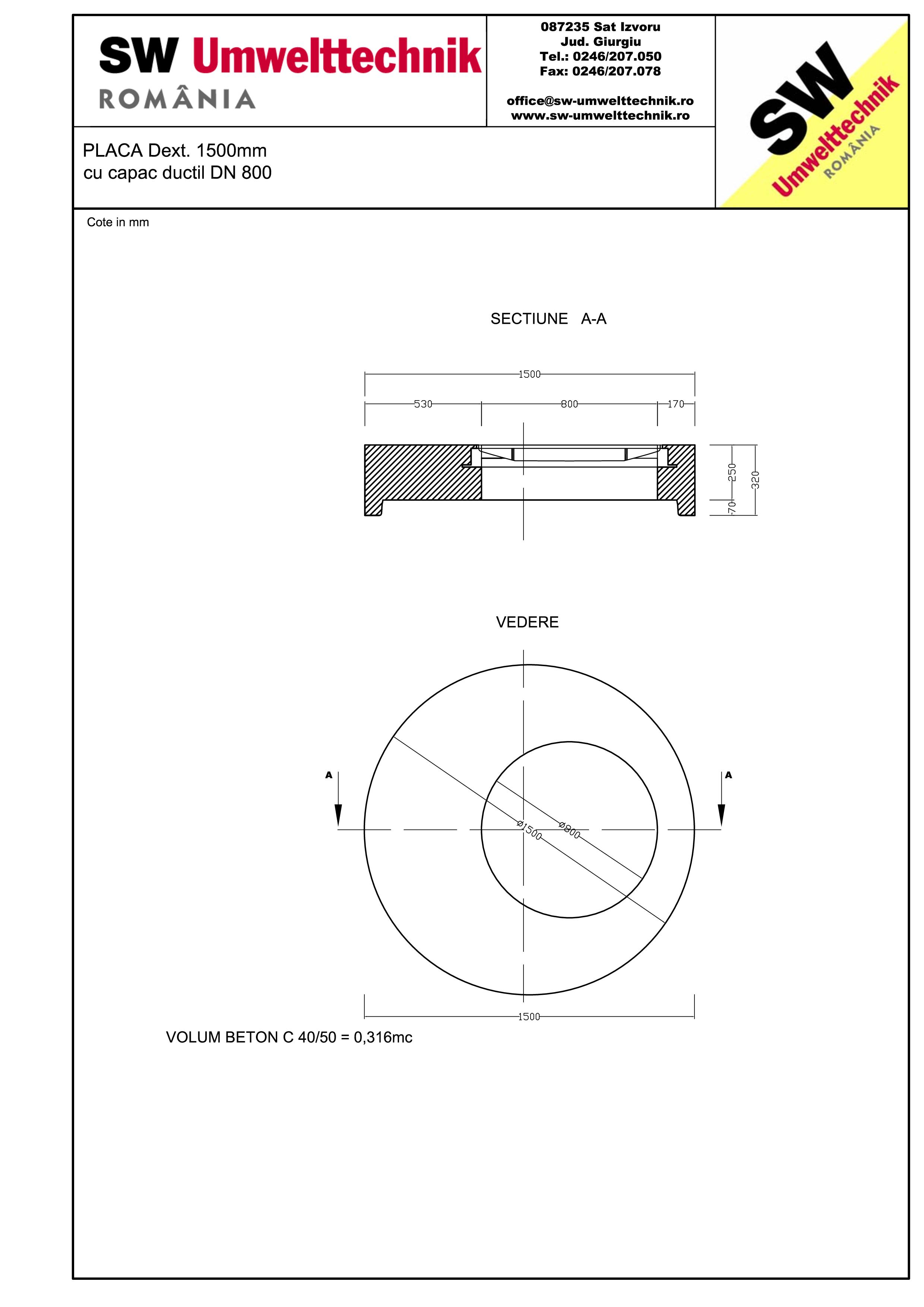 Pagina 1 - CAD-PDF Placa Dext.1500 H250 cu capac ductil DN800 SW UMWELTTECHNIK Detaliu de produs