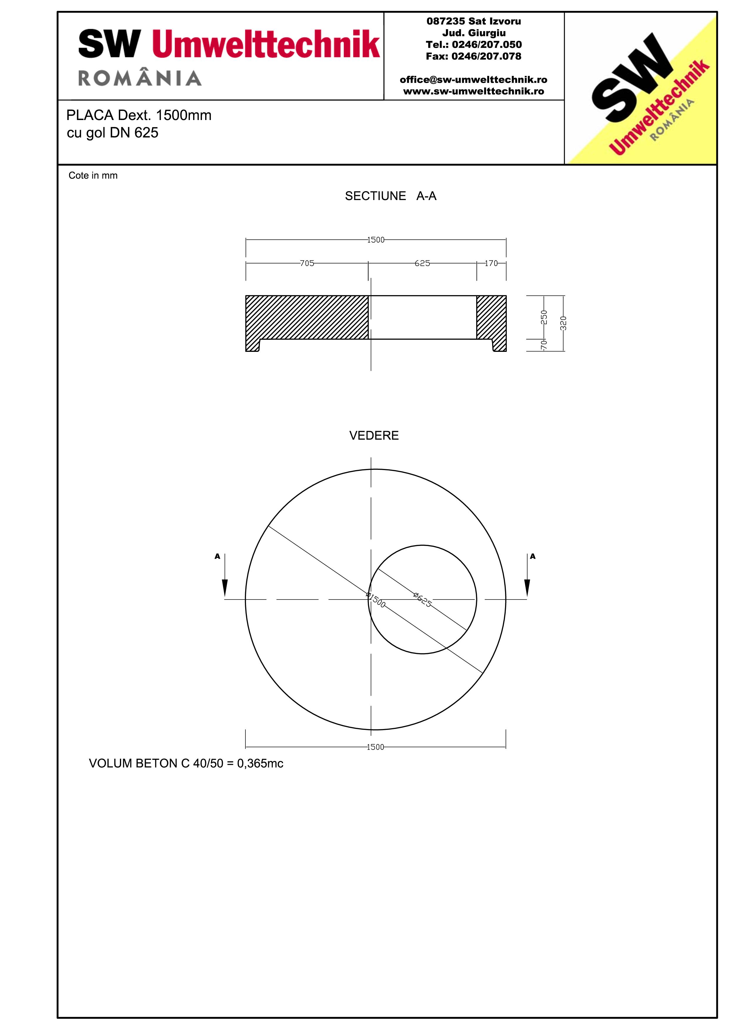 Pagina 1 - CAD-PDF Placa Dext.1500 H250 cu gol DN625 SW UMWELTTECHNIK Detaliu de produs