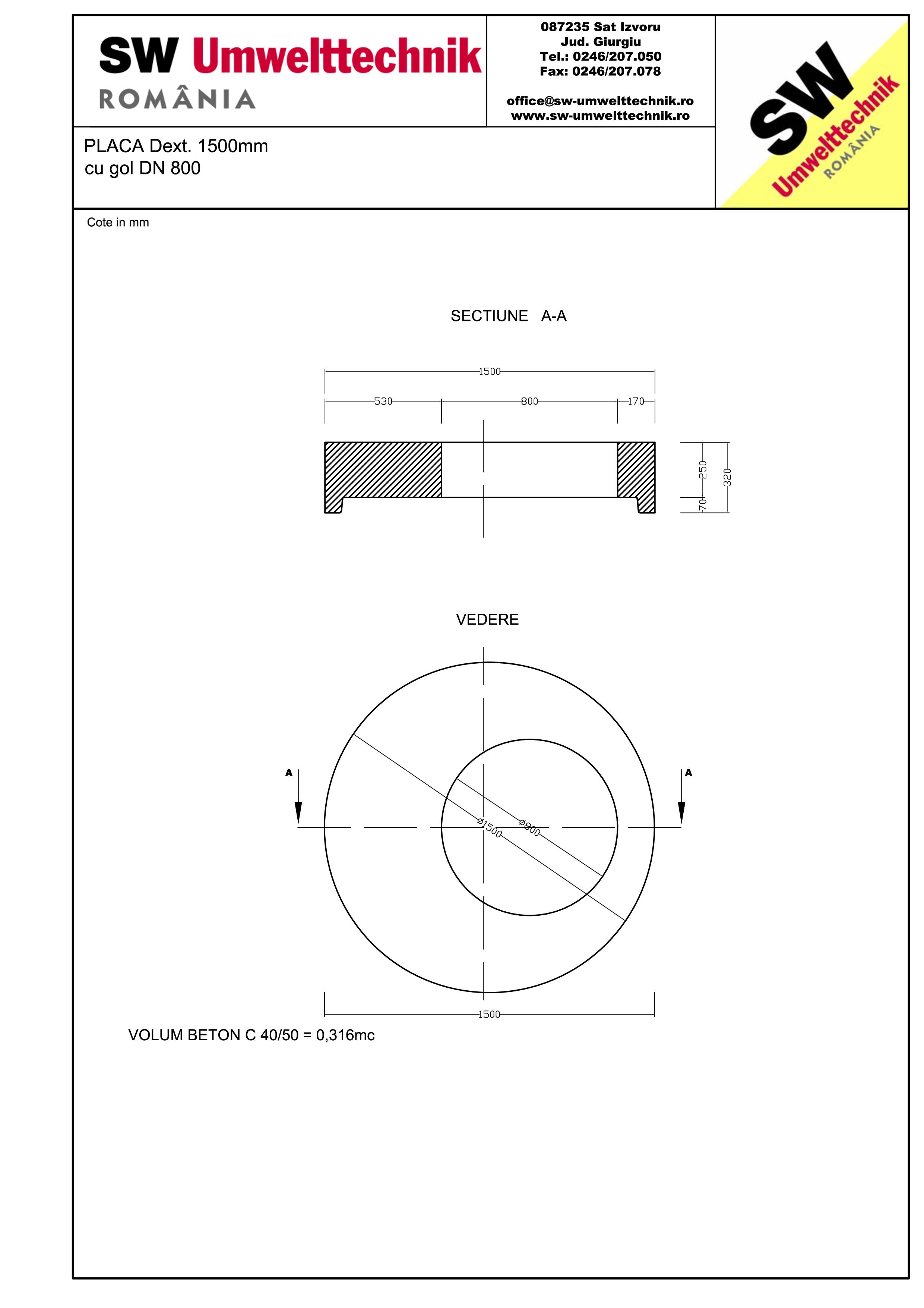 Pagina 1 - CAD-PDF Placa Dext.1500 H250 cu golL DN 800 SW UMWELTTECHNIK Detaliu de produs