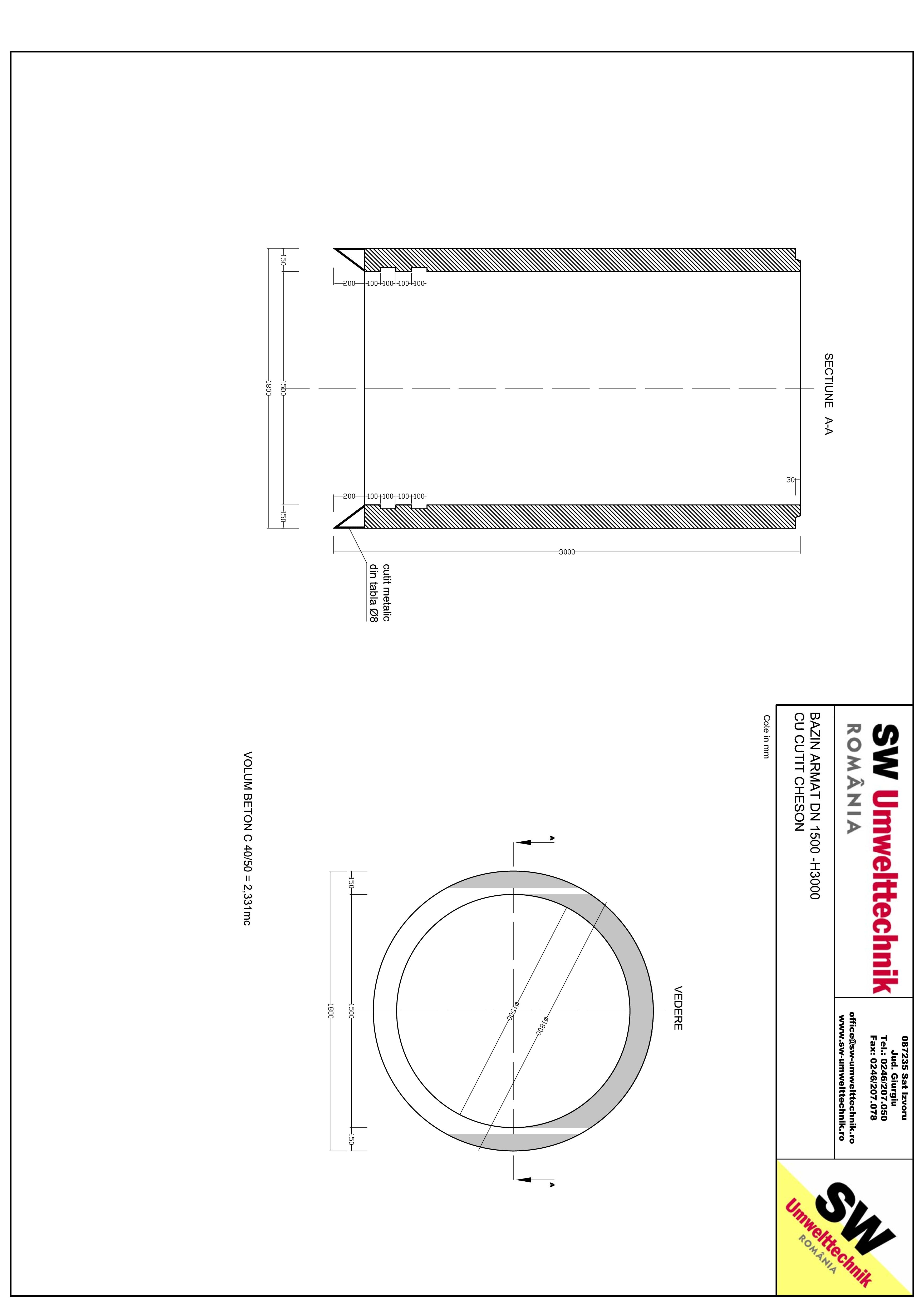 Pagina 1 - CAD-PDF Bazin armat DN1500 CHESON H3000 SW UMWELTTECHNIK Detaliu de produs