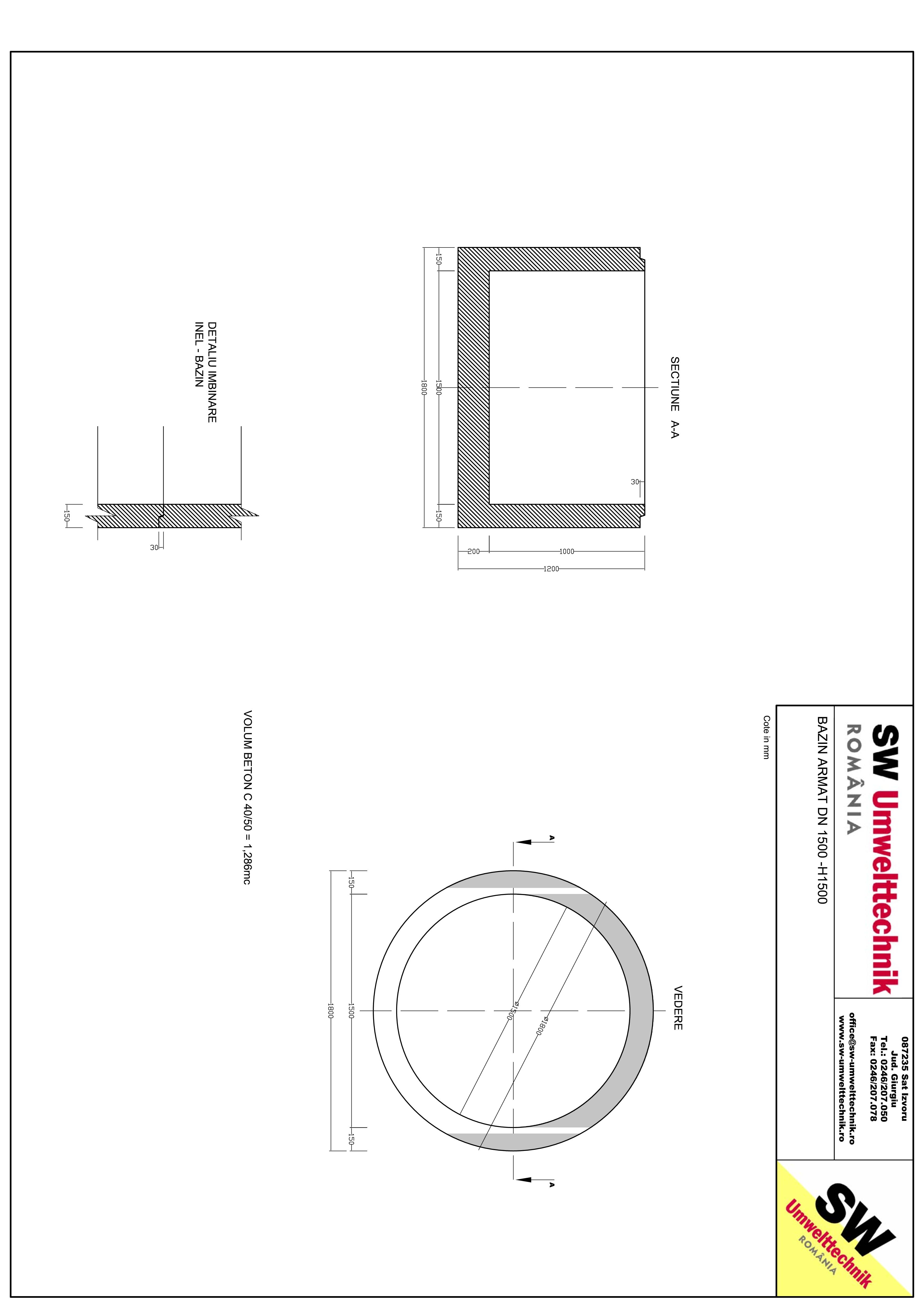 Pagina 1 - CAD-PDF Bazin armat DN1500 H1000 SW UMWELTTECHNIK Detaliu de produs