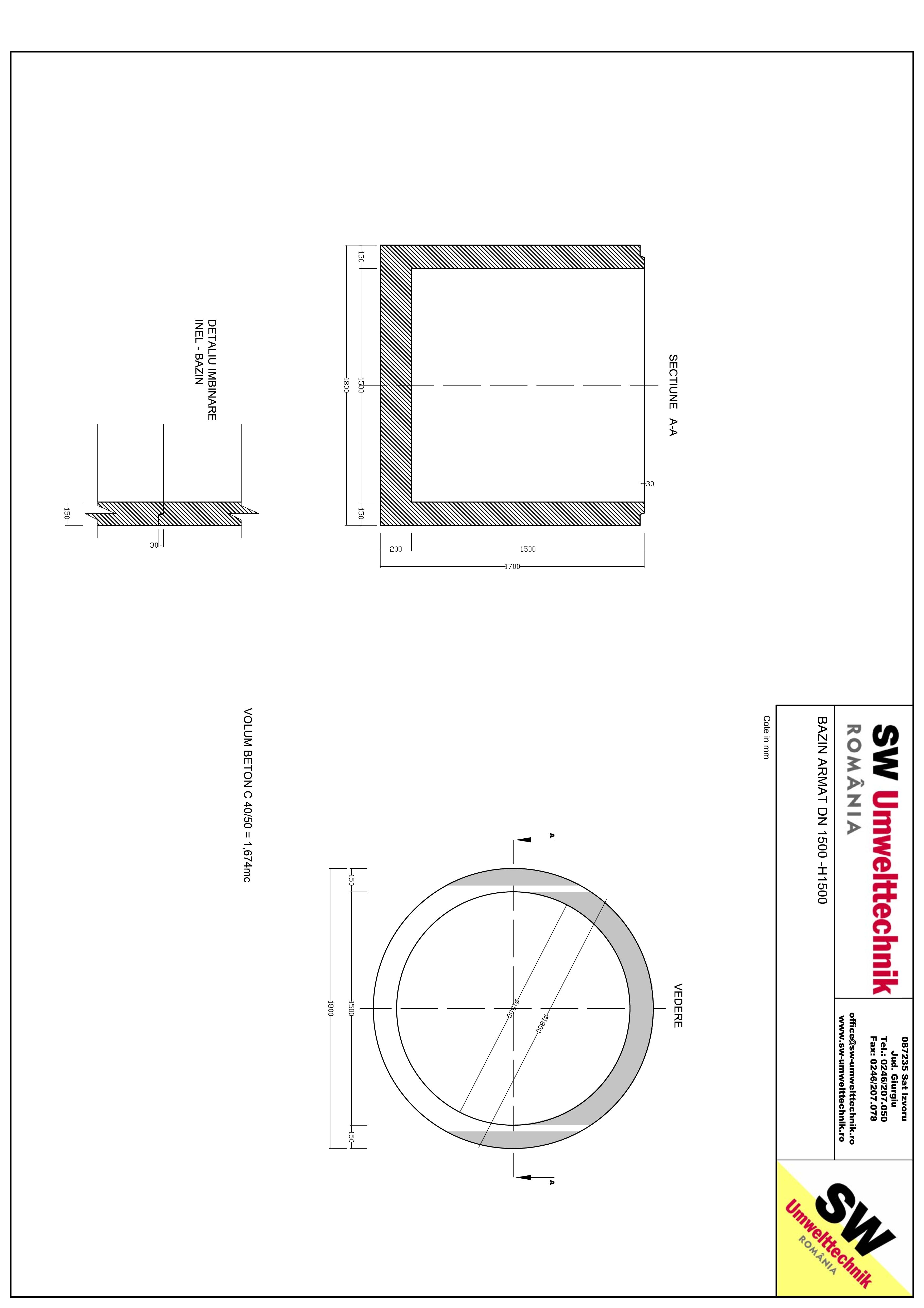 Pagina 1 - CAD-PDF Bazin armat DN1500 H1500 SW UMWELTTECHNIK Detaliu de produs