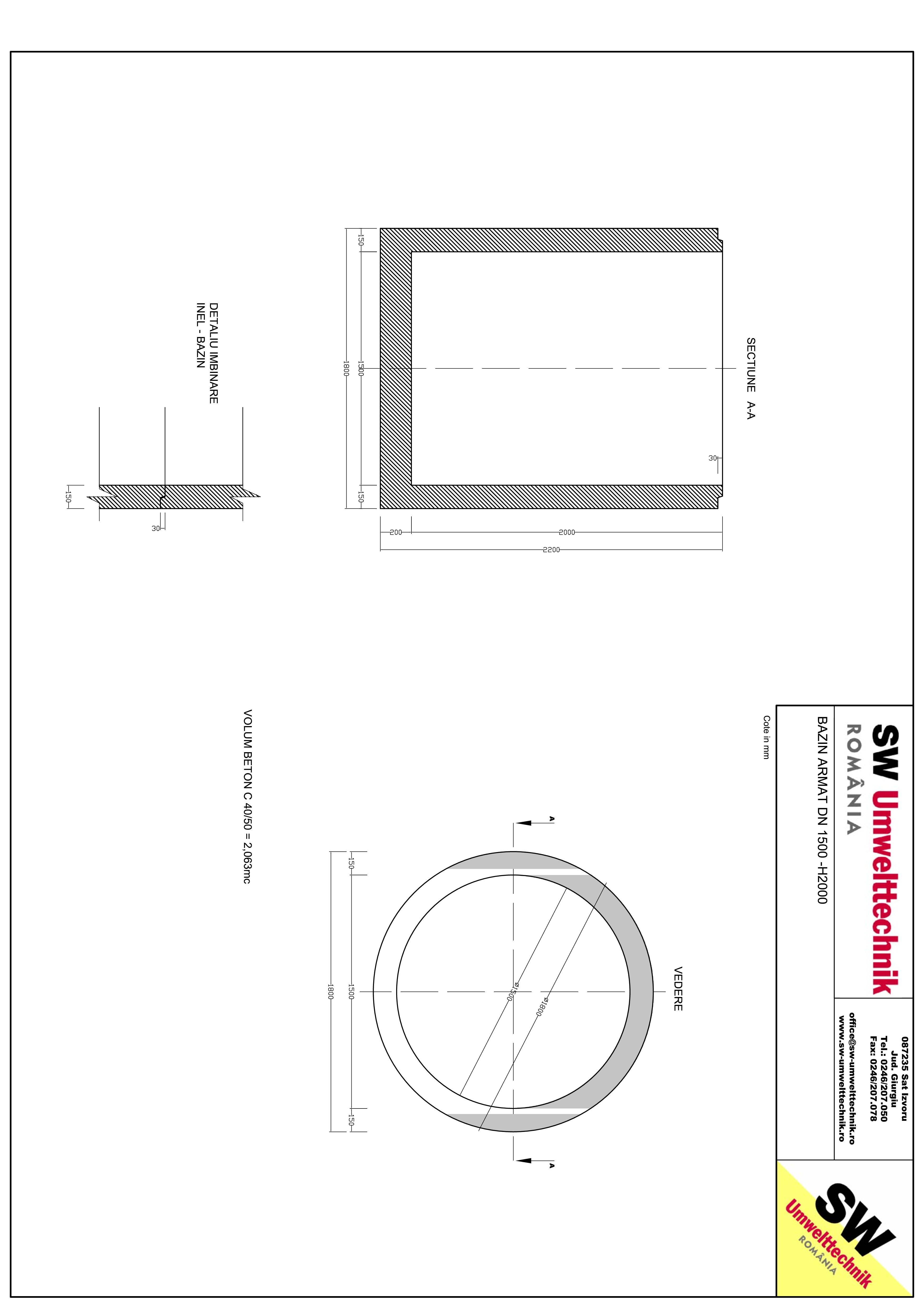 Pagina 1 - CAD-PDF Bazin armat DN1500 H2000 SW UMWELTTECHNIK Detaliu de produs