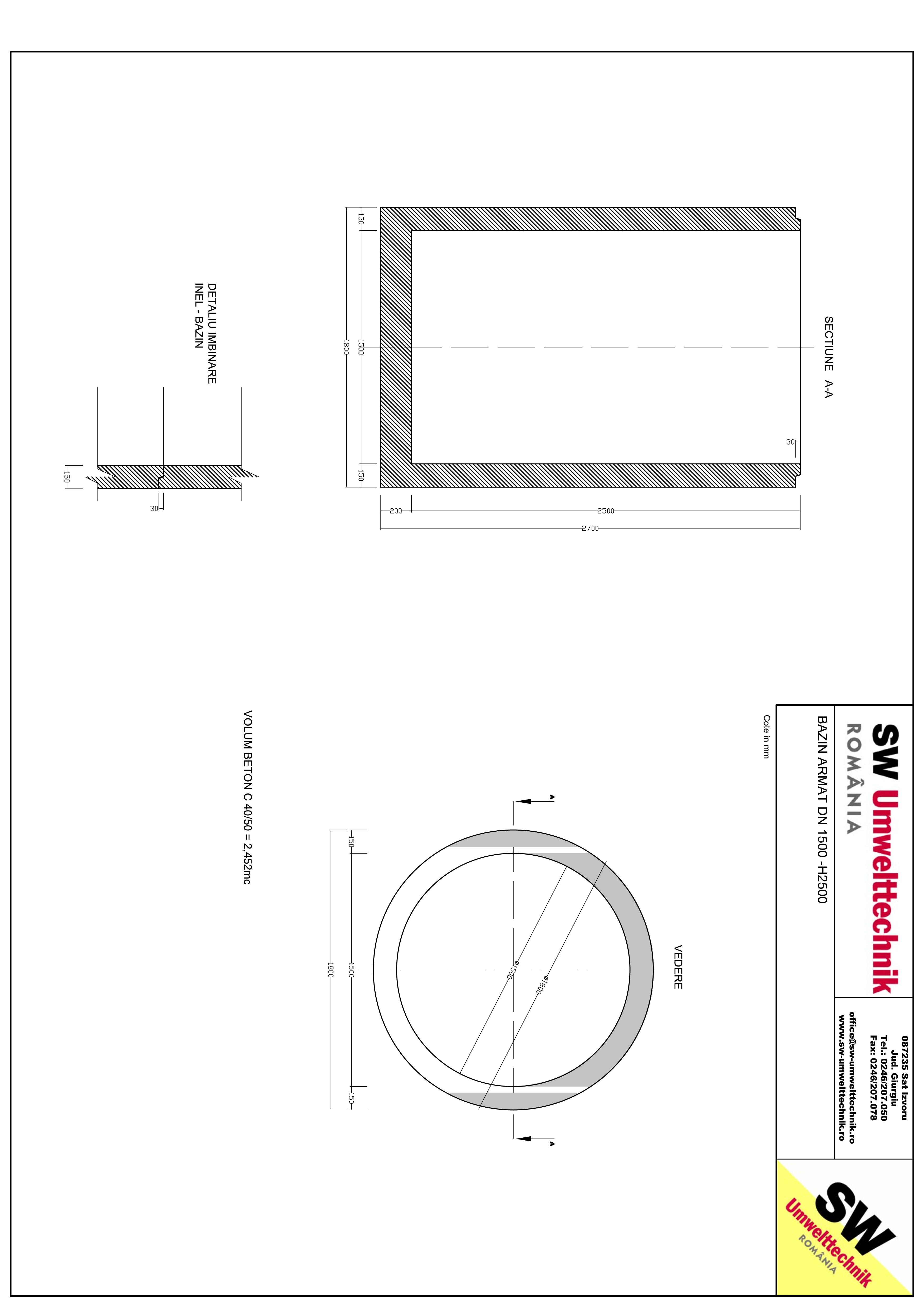 Pagina 1 - CAD-PDF Bazin armat DN1500 H2500 SW UMWELTTECHNIK Detaliu de produs