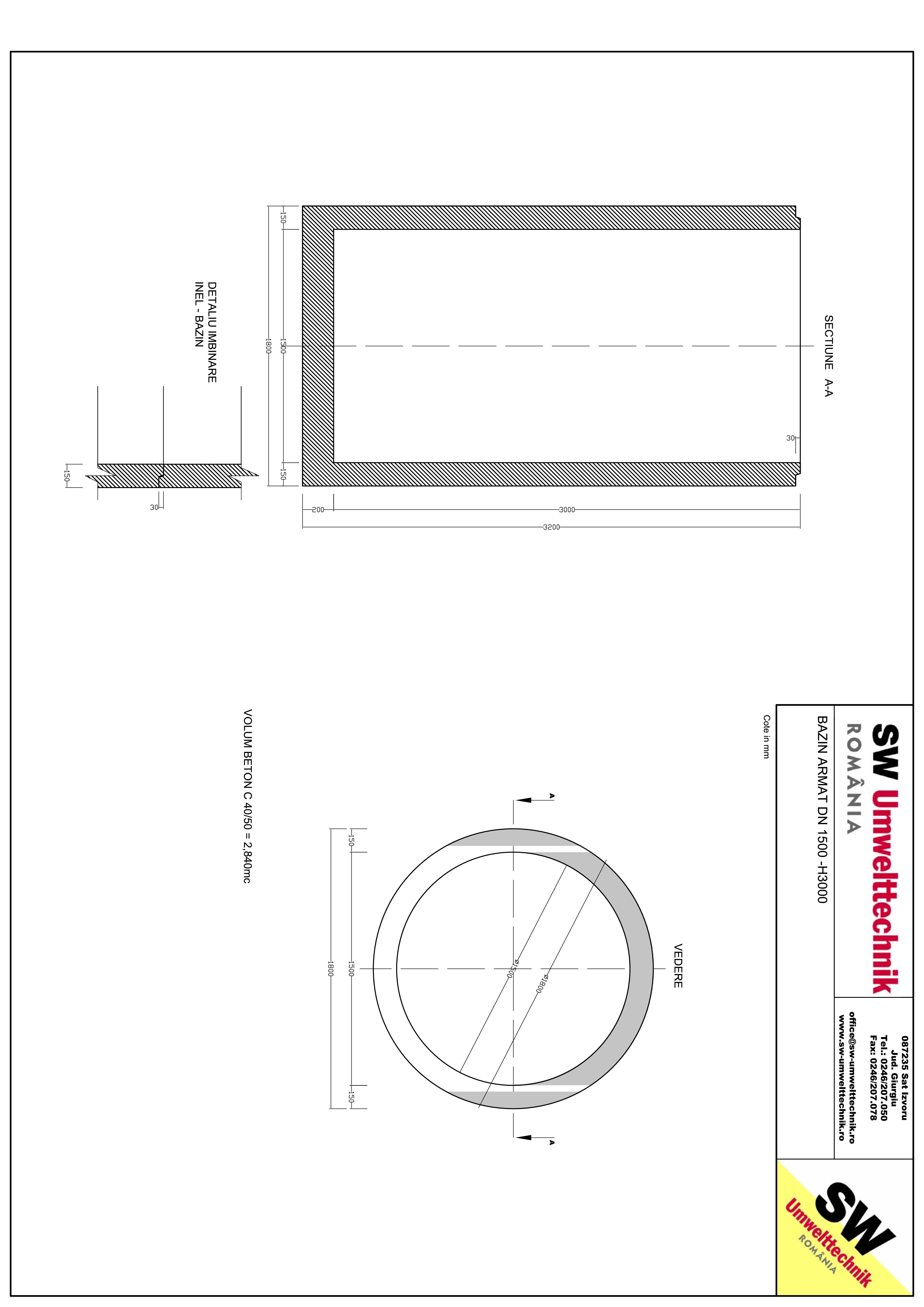 Pagina 1 - CAD-PDF Bazin armat DN1500 H3000 SW UMWELTTECHNIK Detaliu de produs