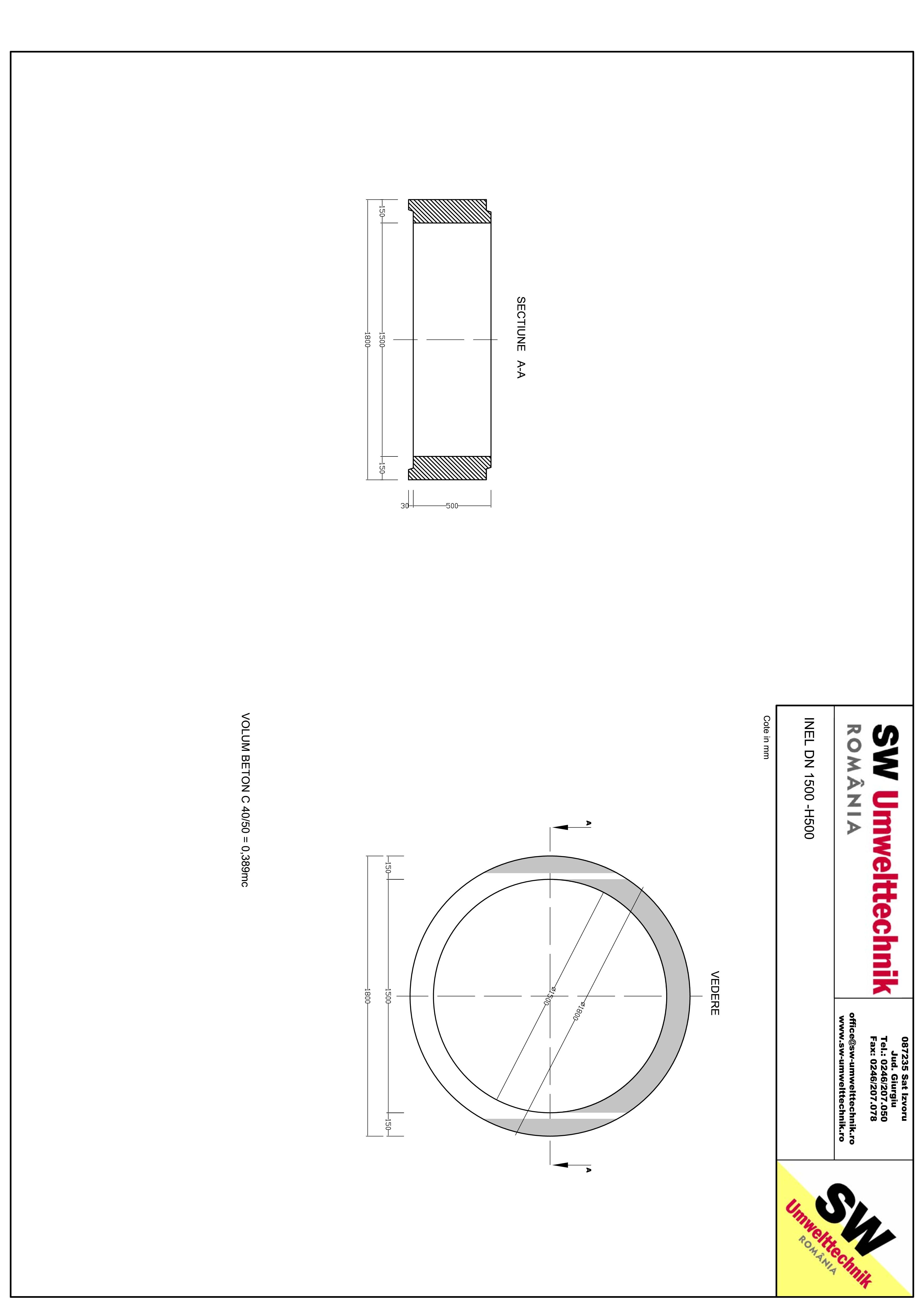 Pagina 1 - CAD-PDF Inel DN1500 INEL H500 SW UMWELTTECHNIK Detaliu de produs