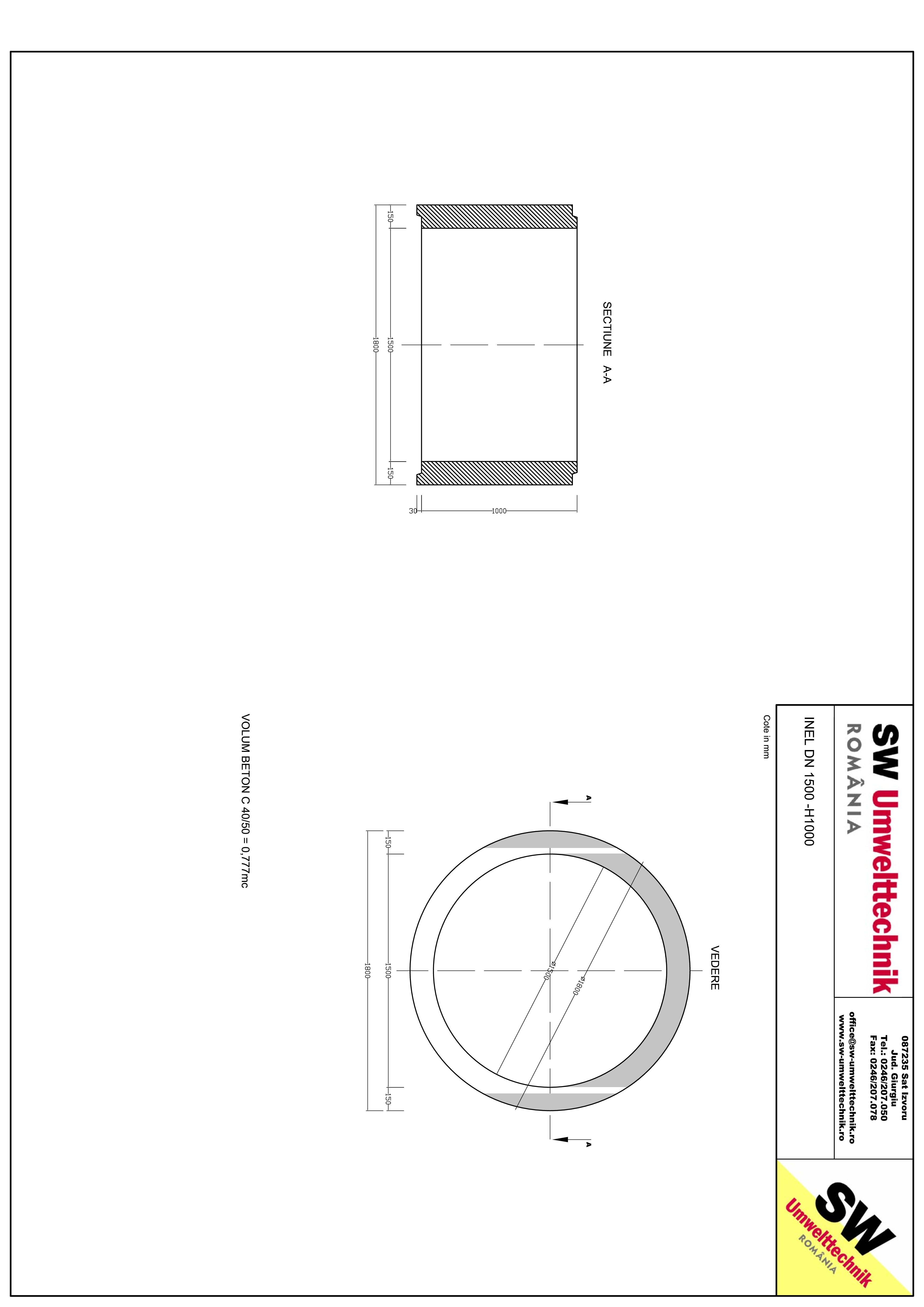 Pagina 1 - CAD-PDF Inel DN1500 INEL H1000 SW UMWELTTECHNIK Detaliu de produs