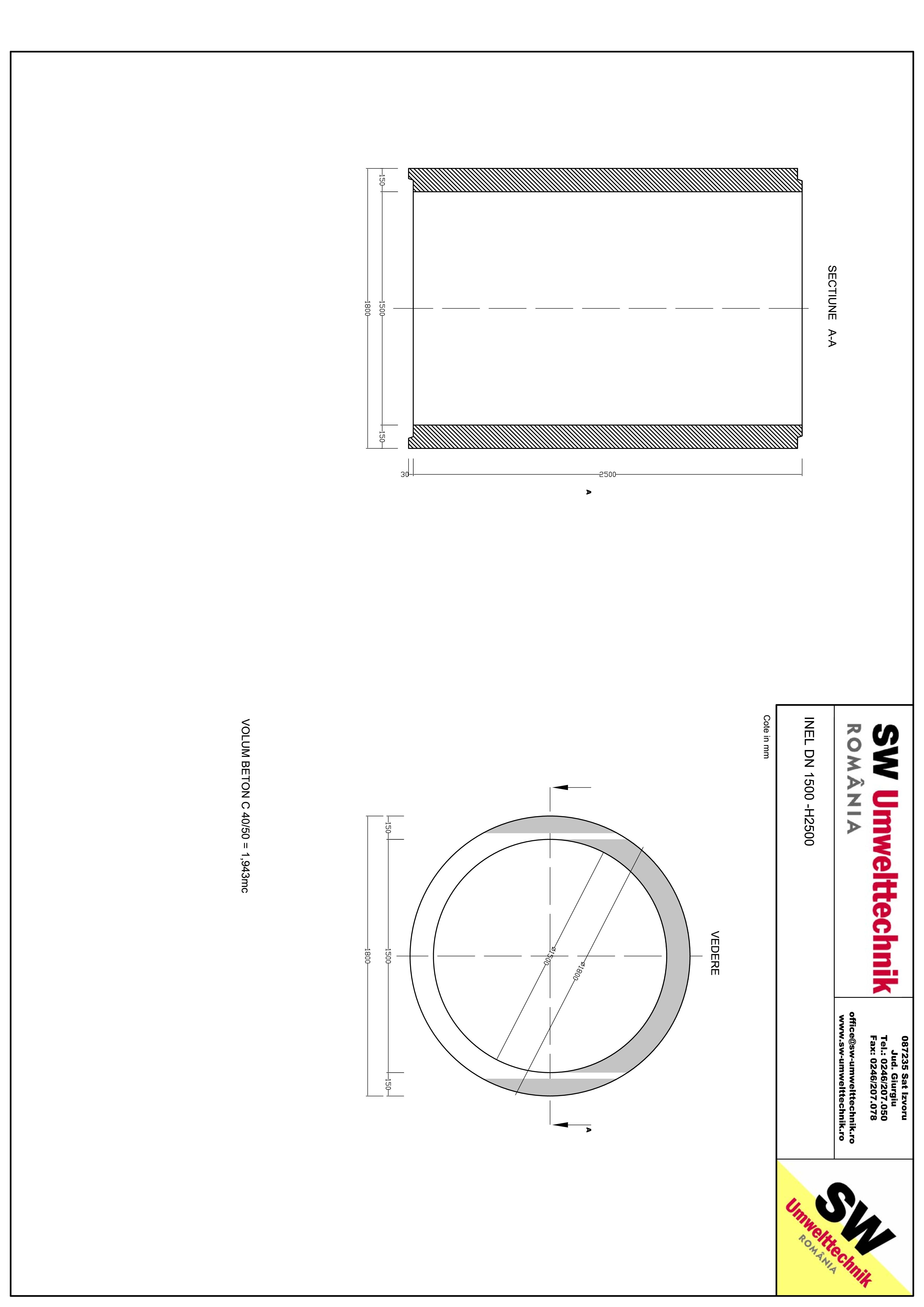 Pagina 1 - CAD-PDF Inel DN1500 inel H2000  DN1500 inel H2500 SW UMWELTTECHNIK Detaliu de produs