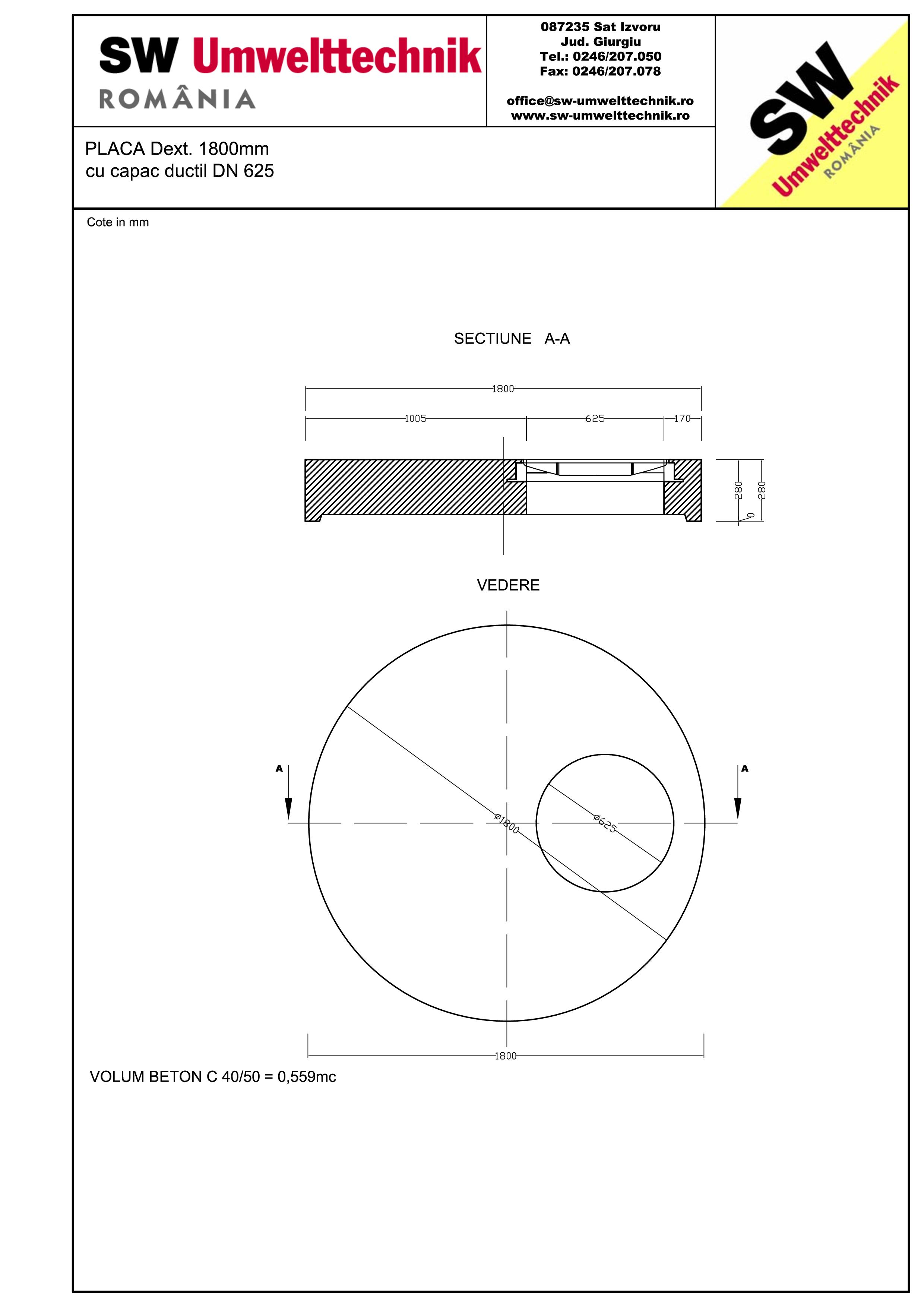 Pagina 1 - CAD-PDF Placa Dext.1800 H250 cu capac ductil DN625 SW UMWELTTECHNIK Detaliu de produs