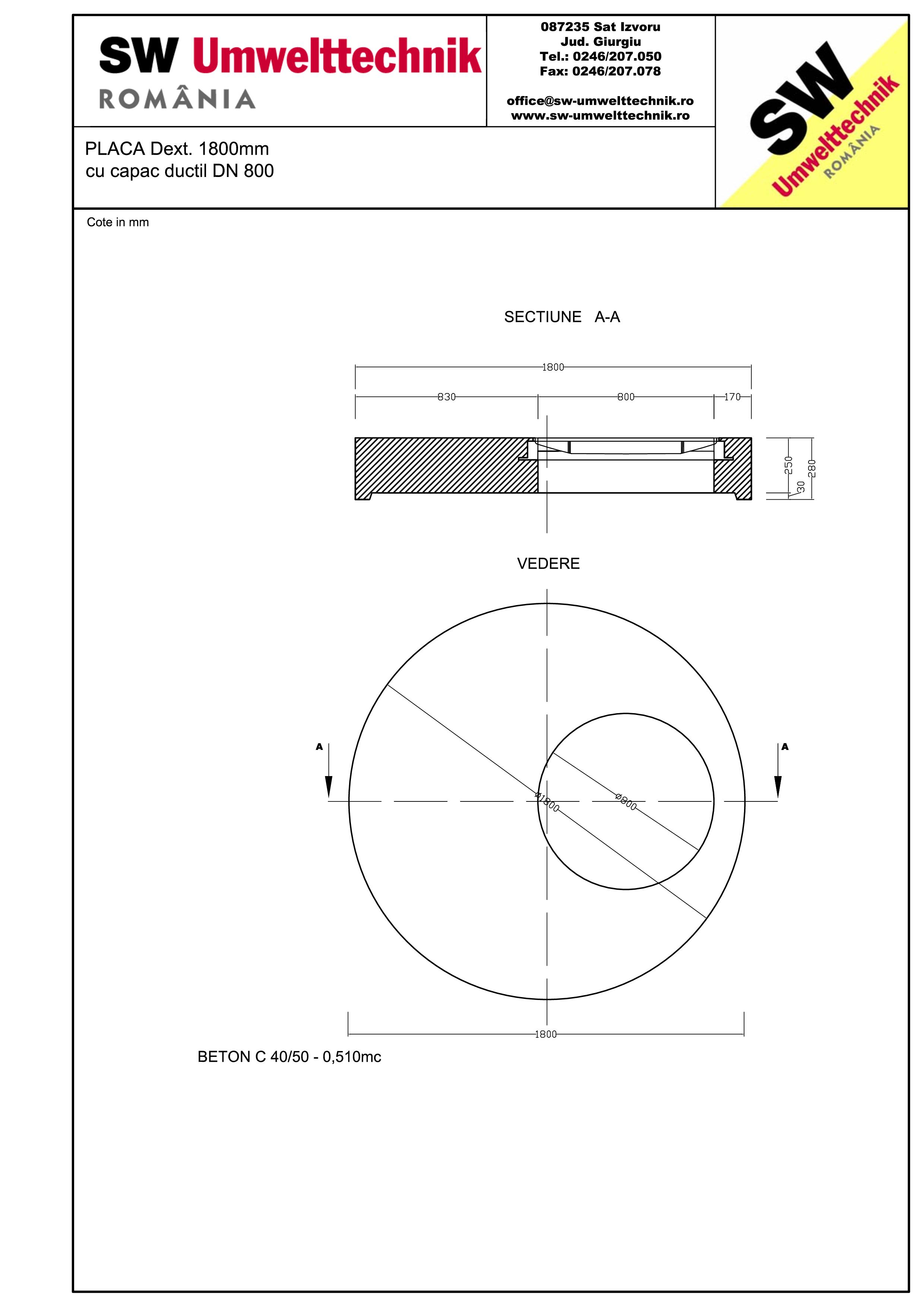 Pagina 1 - CAD-PDF Placa Dext.1800 H250 cu capac ductil DN800 SW UMWELTTECHNIK Detaliu de produs
