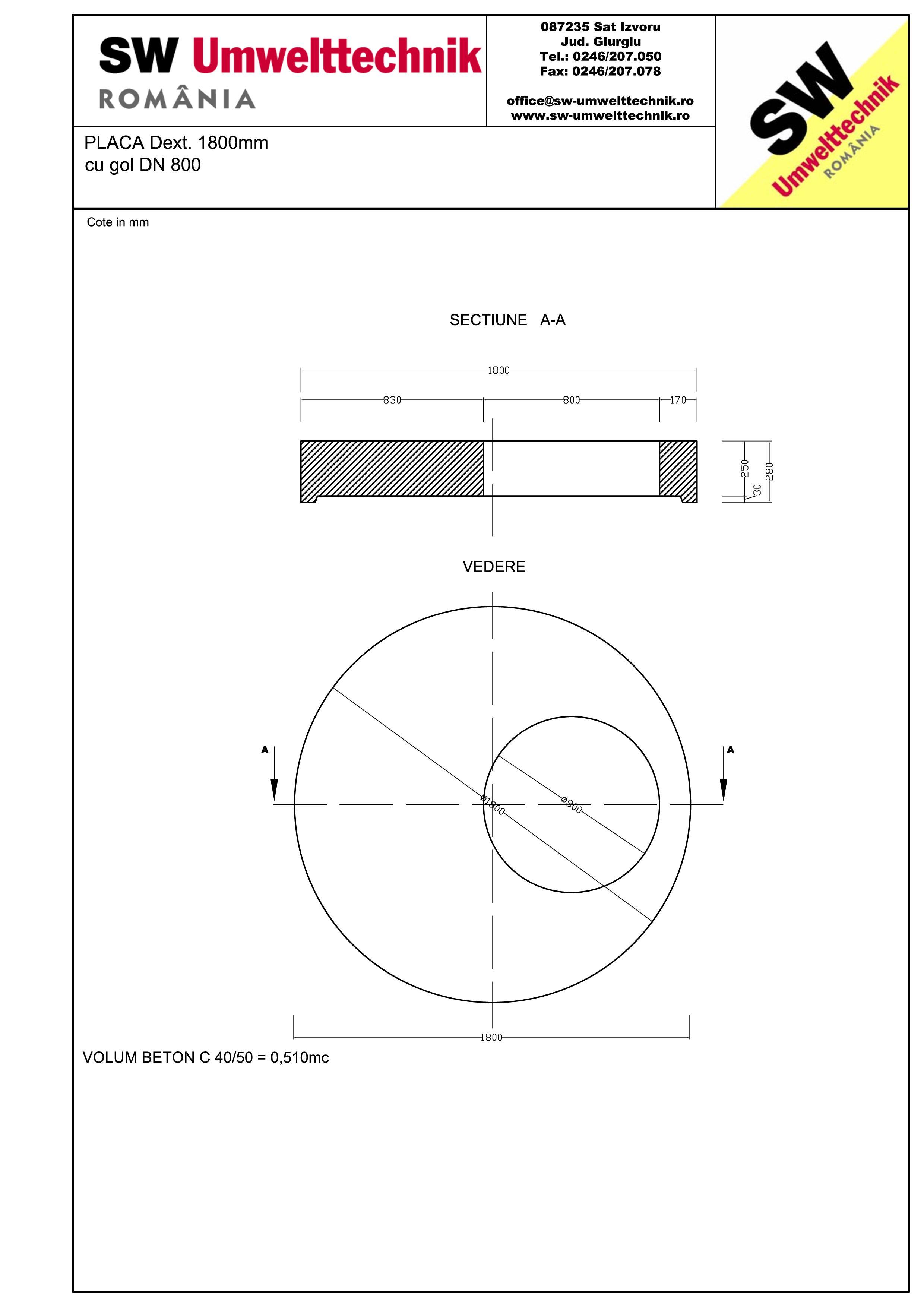 Pagina 1 - CAD-PDF Placa Dext.1800 H250 cu gol DN800 SW UMWELTTECHNIK Detaliu de produs