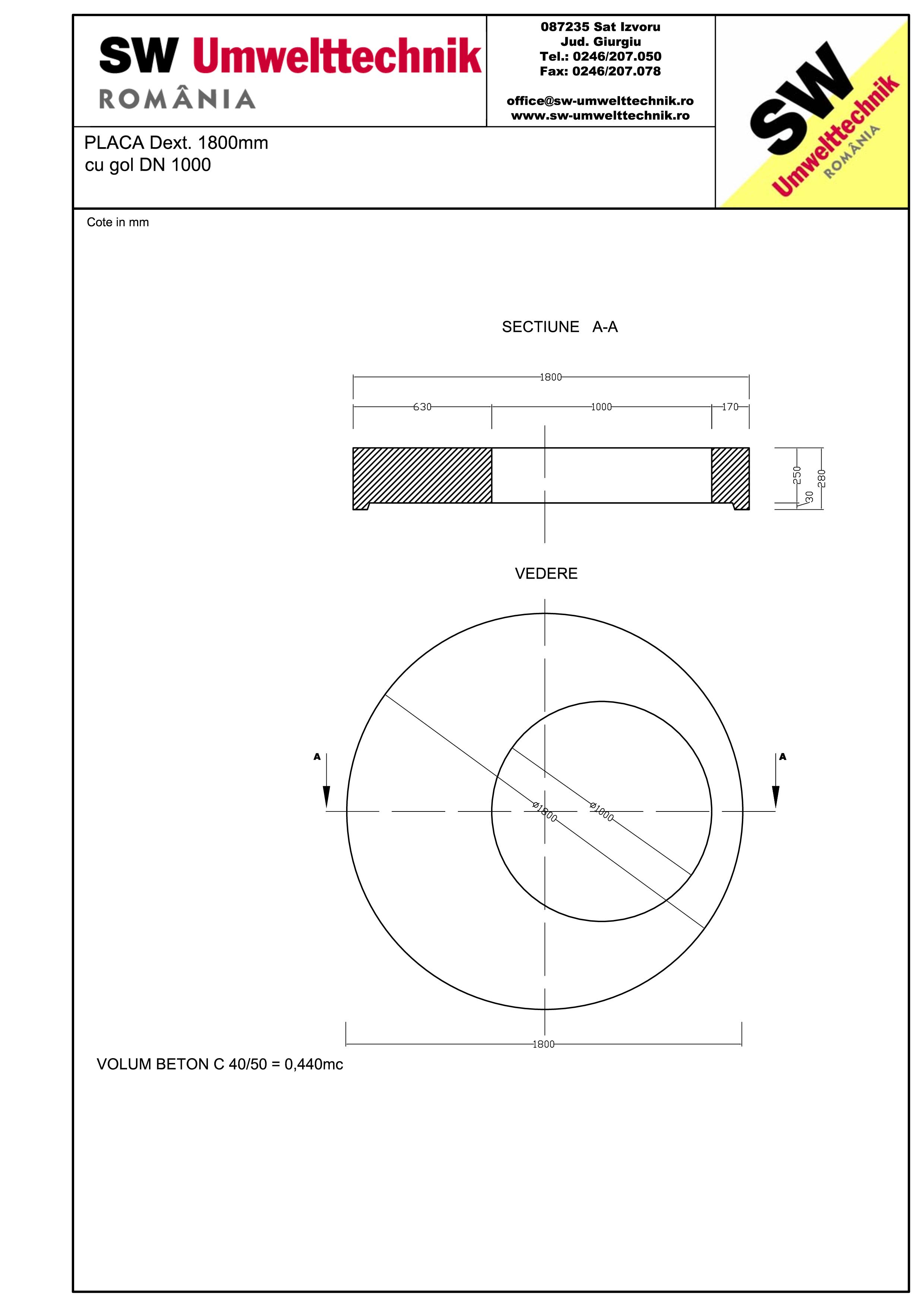 Pagina 1 - CAD-PDF Placa Dext.1800 H250 cu gol DN1000 SW UMWELTTECHNIK Detaliu de produs
