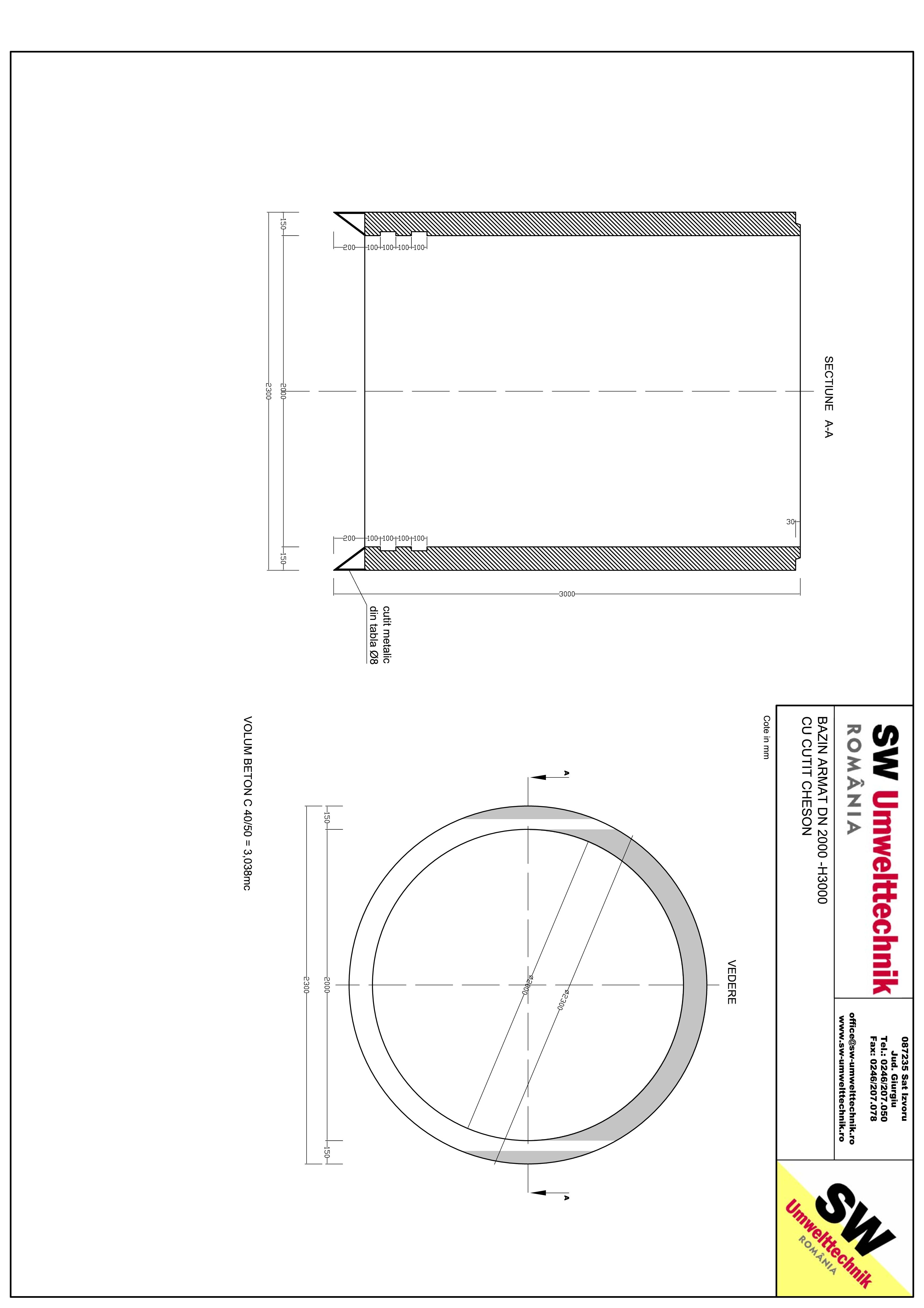 Pagina 1 - CAD-PDF Bazin armat DN2000 CHESON H3000 SW UMWELTTECHNIK Detaliu de produs