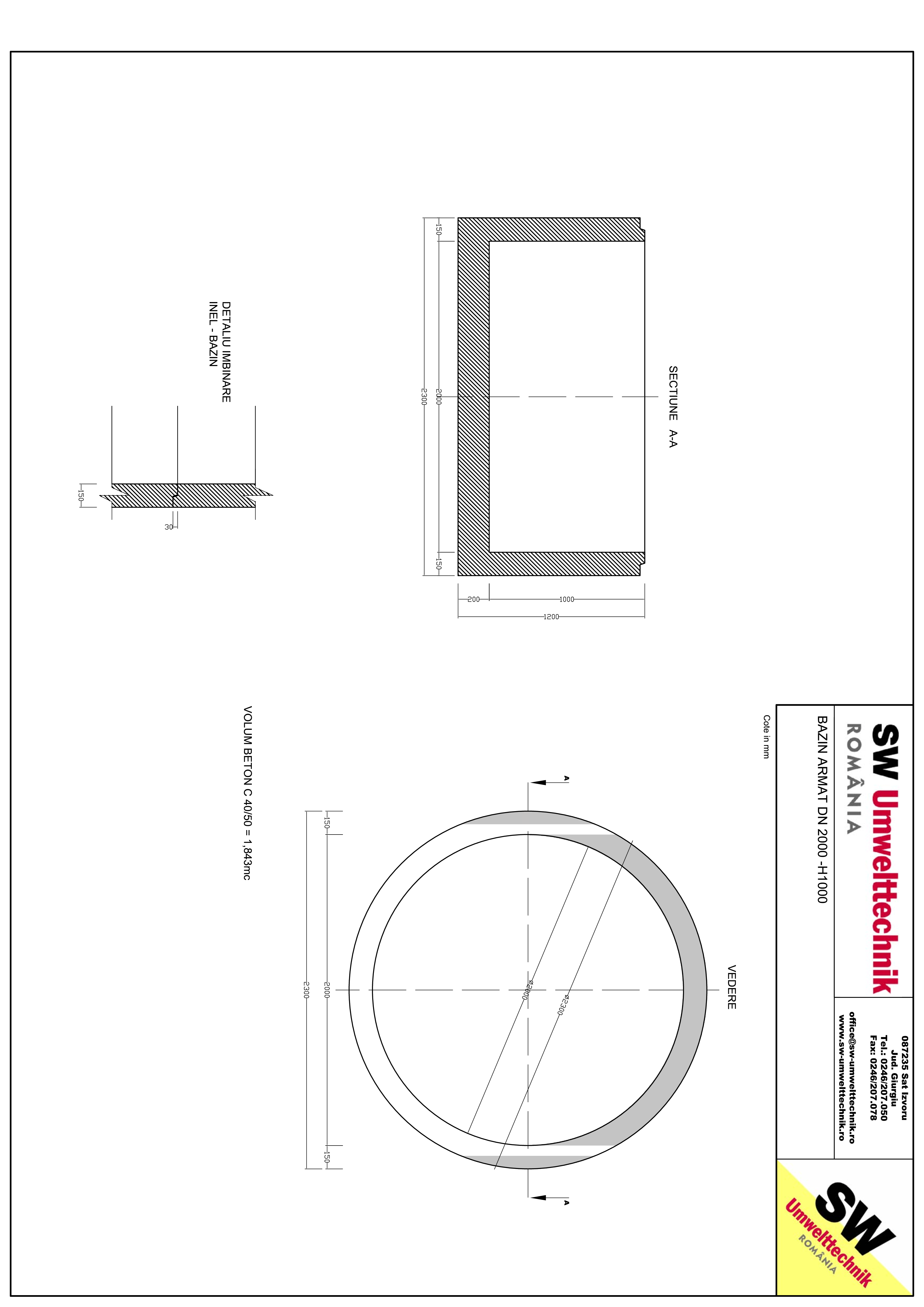Pagina 1 - CAD-PDF Bazin armat DN2000 H1000 SW UMWELTTECHNIK Detaliu de produs