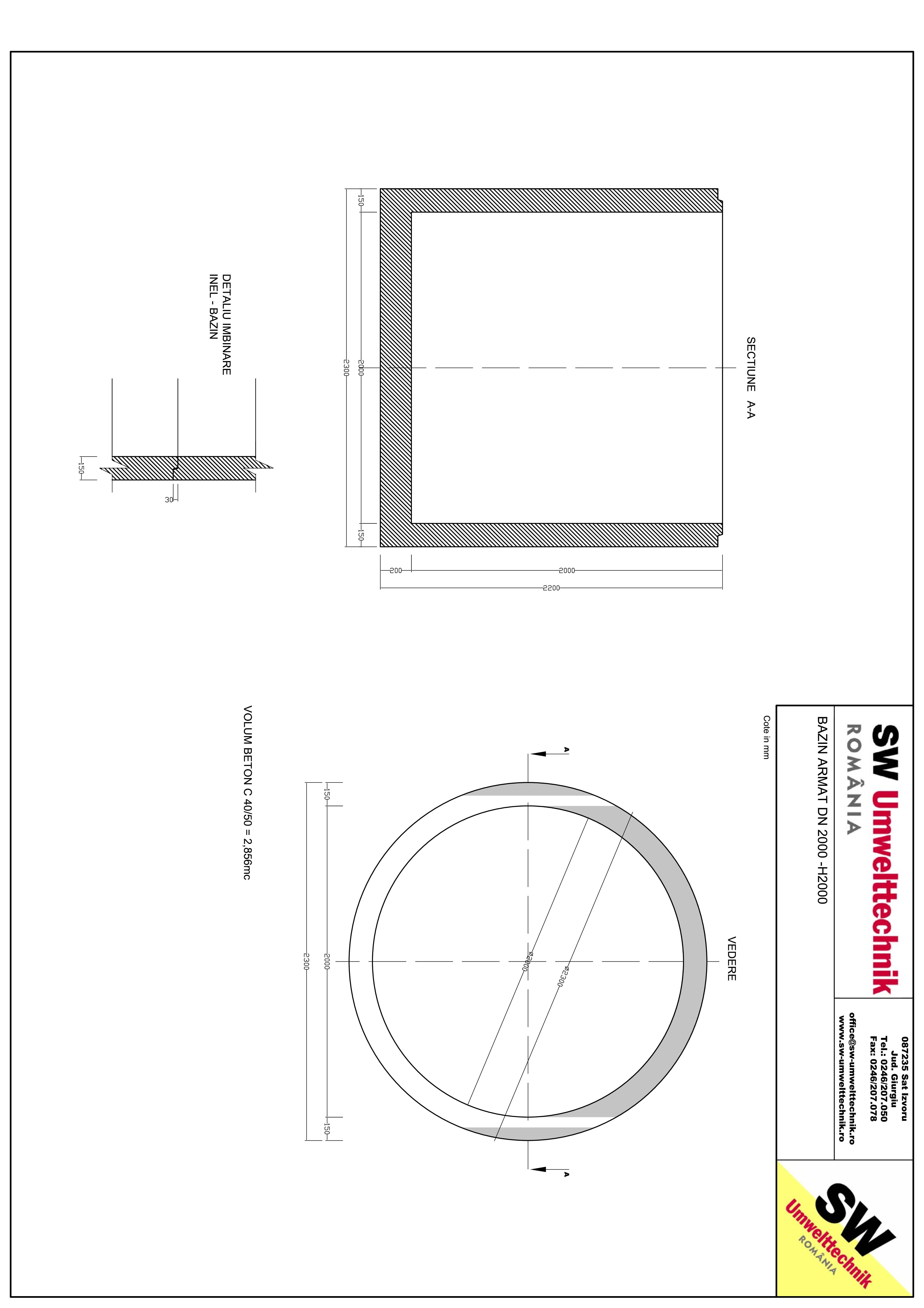 Pagina 1 - CAD-PDF Bazin armat DN2000 H2000 SW UMWELTTECHNIK Detaliu de produs
