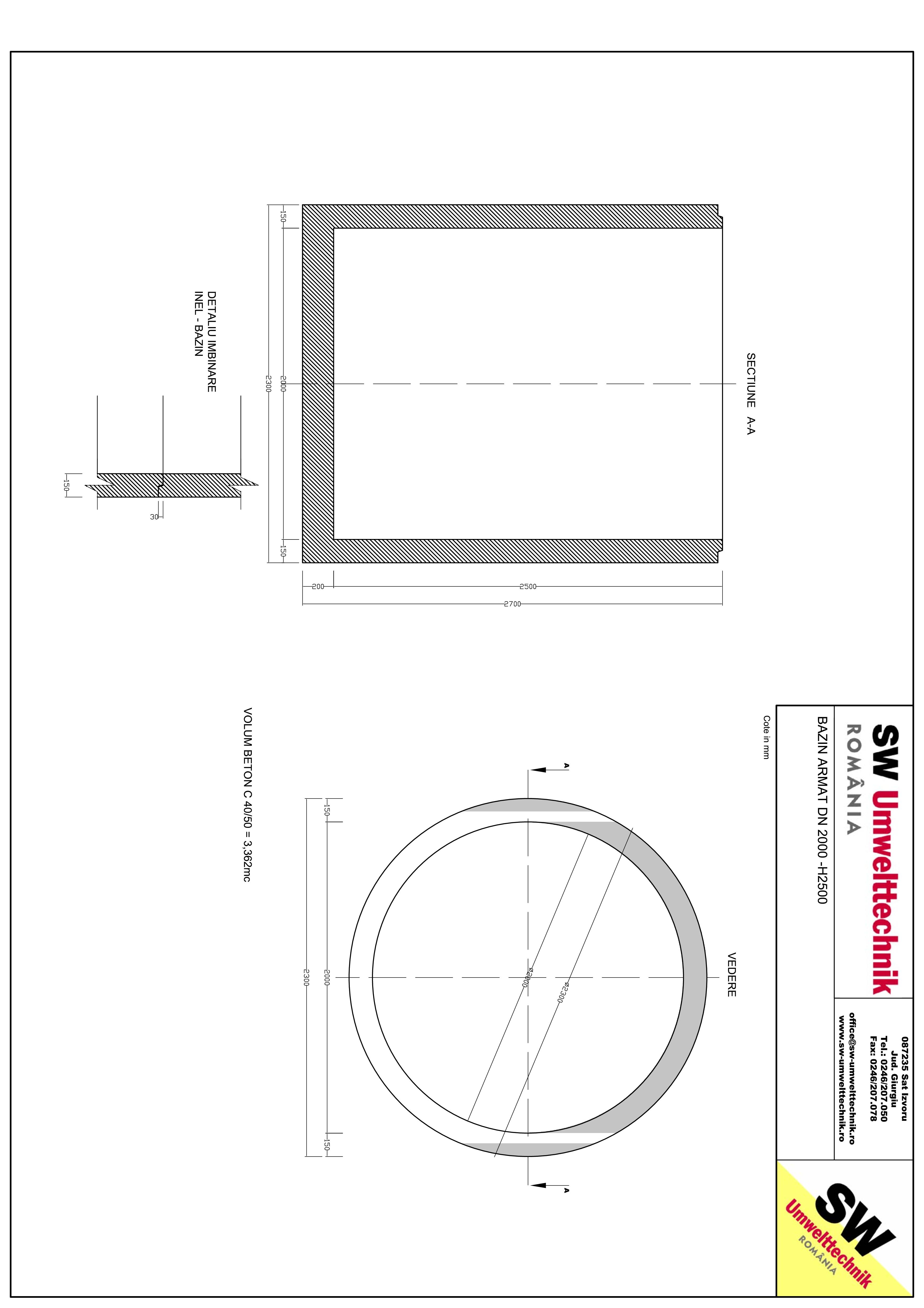 Pagina 1 - CAD-PDF Bazin armat DN2000 H2500 SW UMWELTTECHNIK Detaliu de produs