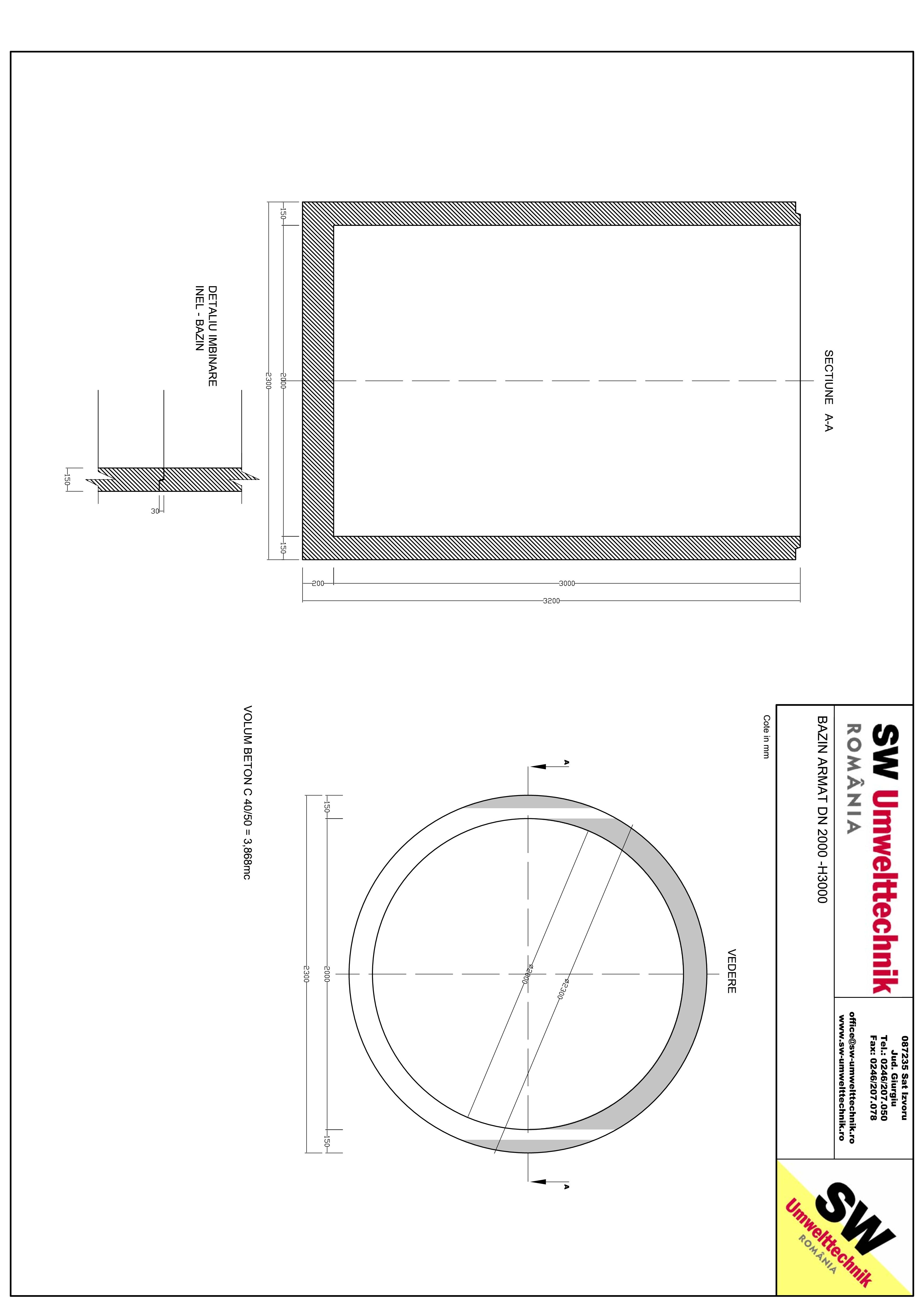 Pagina 1 - CAD-PDF Bazin armat DN2000 H3000 SW UMWELTTECHNIK Detaliu de produs