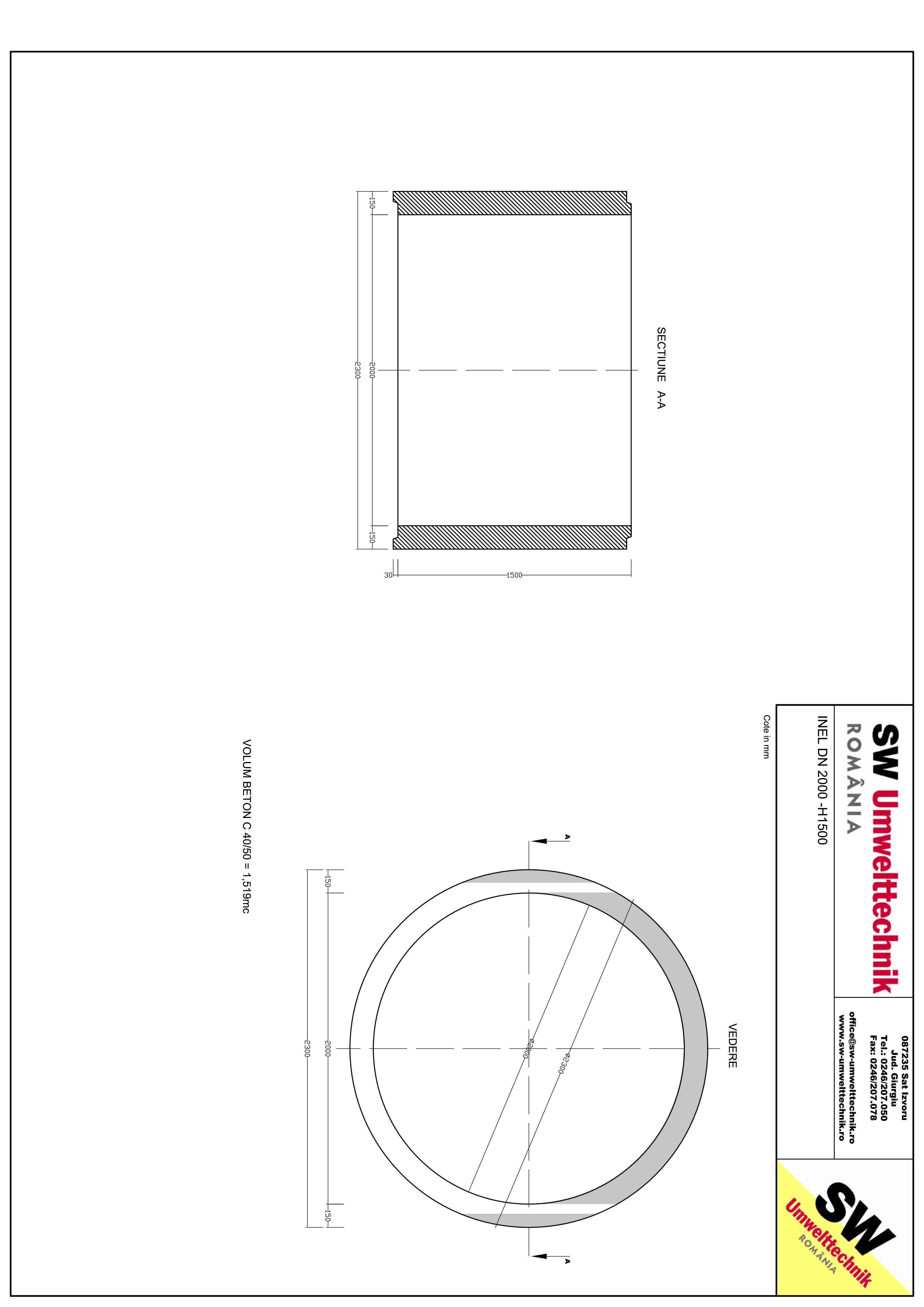 Pagina 1 - CAD-PDF Inel DN2000 - Inel H1500 SW UMWELTTECHNIK Detaliu de produs