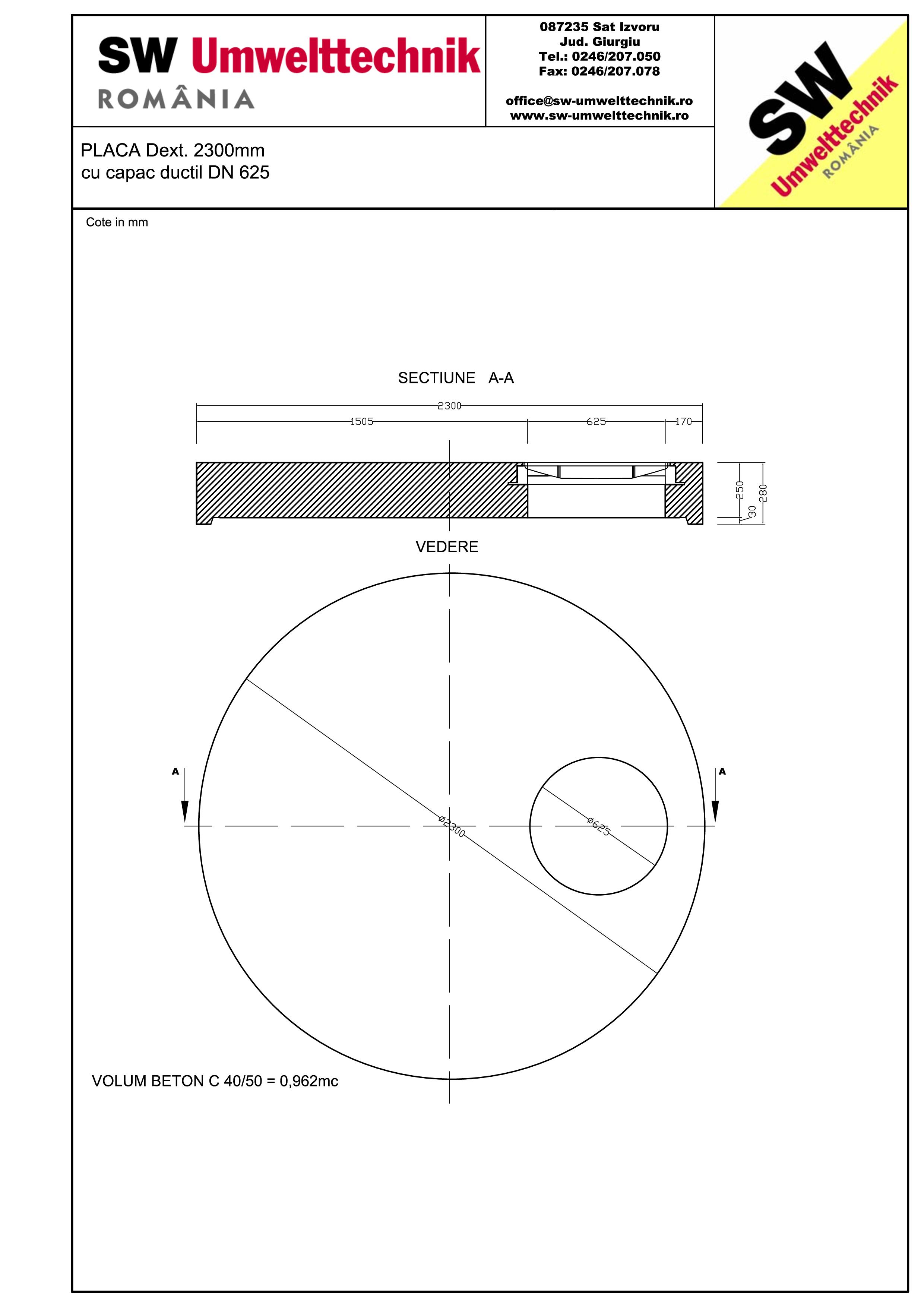 Pagina 1 - CAD-PDF Placa Dext.2300 H250 cu capac ductil DN625 SW UMWELTTECHNIK Detaliu de produs