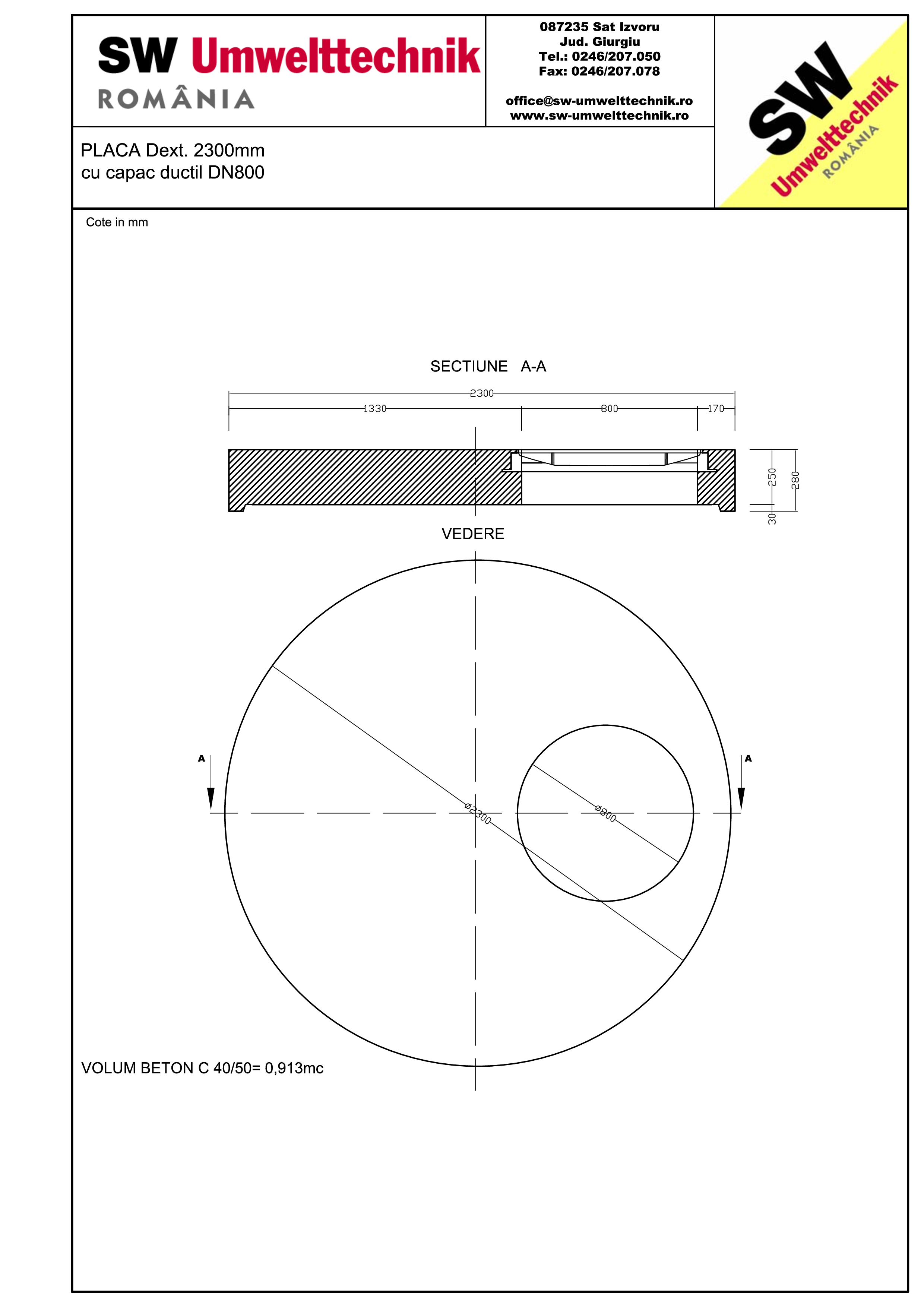 Pagina 1 - CAD-PDF Placa Dext.2300 H250 cu capac ductil DN800 SW UMWELTTECHNIK Detaliu de produs