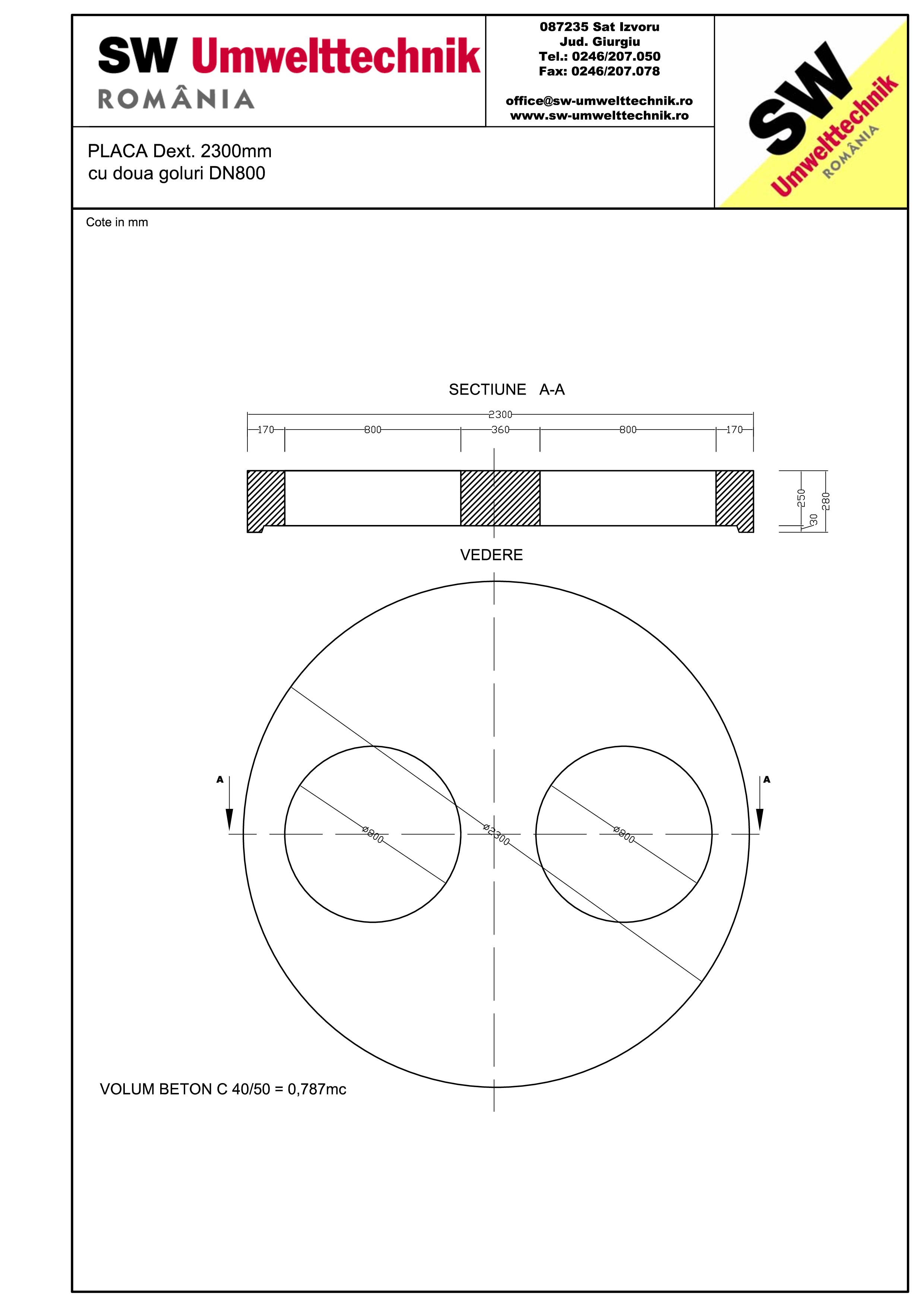 Pagina 1 - CAD-PDF Placa Dext.2300 H250 cu doua goluri DN800 SW UMWELTTECHNIK Detaliu de produs