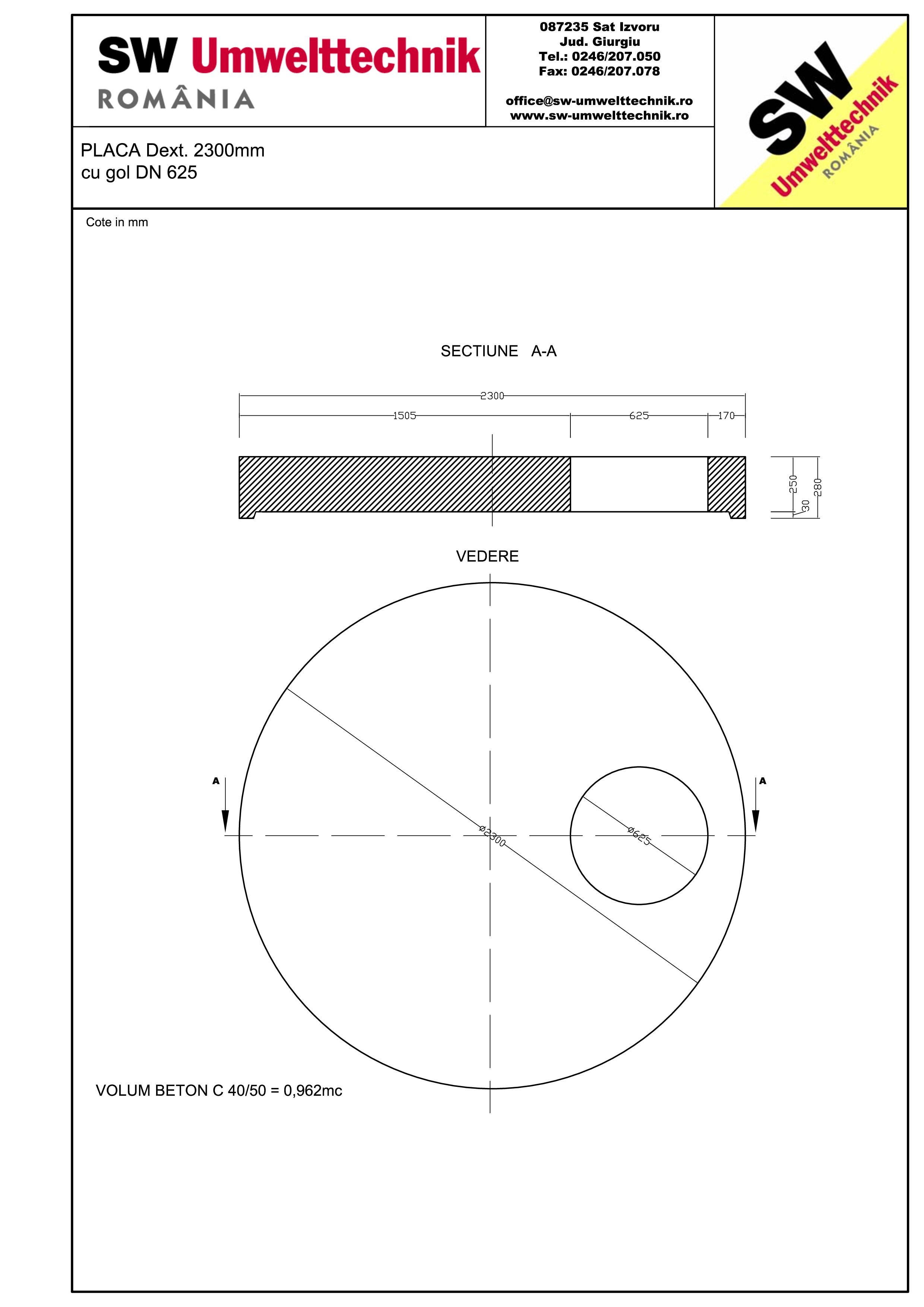 Pagina 1 - CAD-PDF Placa Dext.2300 H250 cu gol DN625 SW UMWELTTECHNIK Detaliu de produs