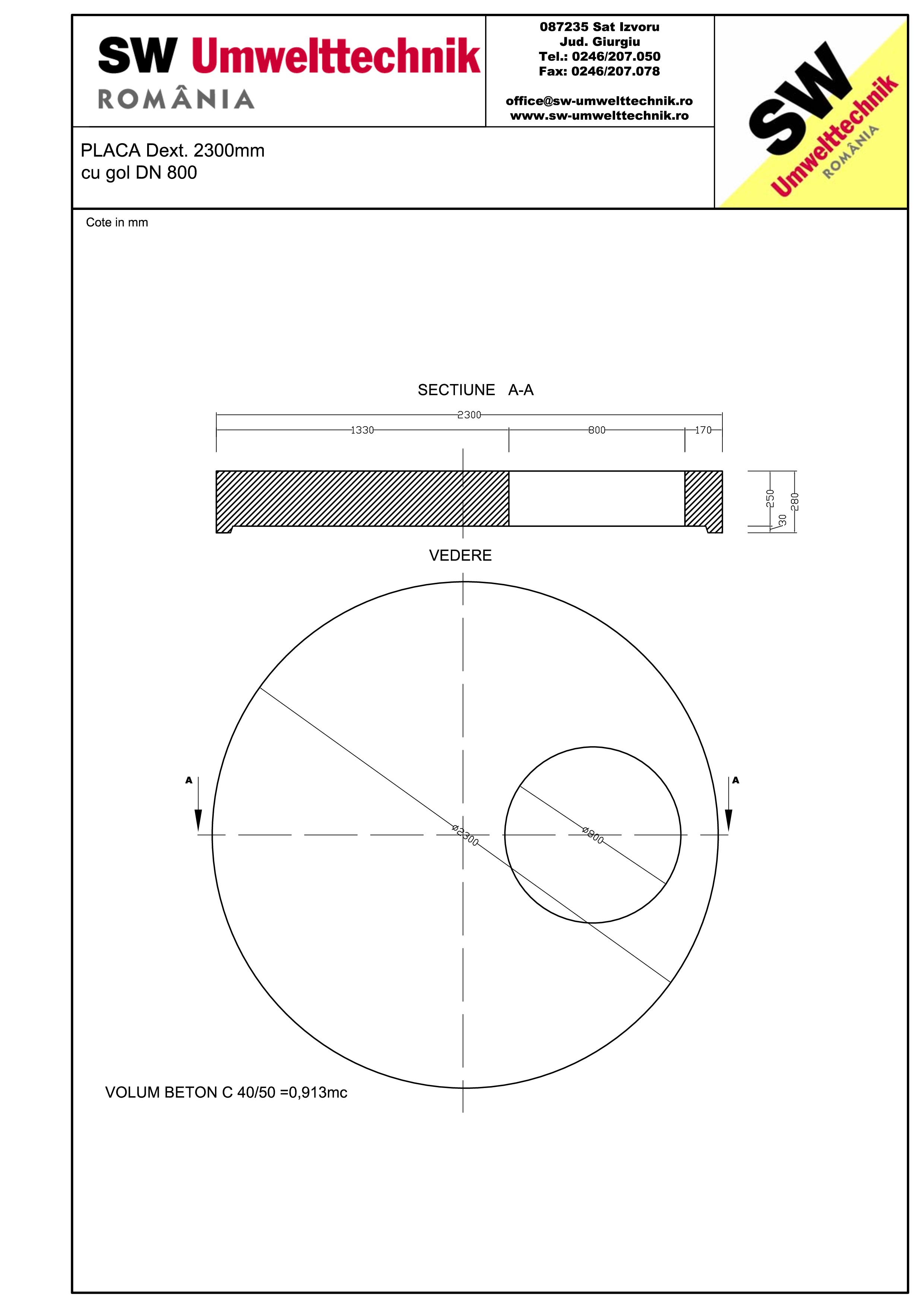 Pagina 1 - CAD-PDF Placa Dext.2300 H250 cu gol DN800 SW UMWELTTECHNIK Detaliu de produs