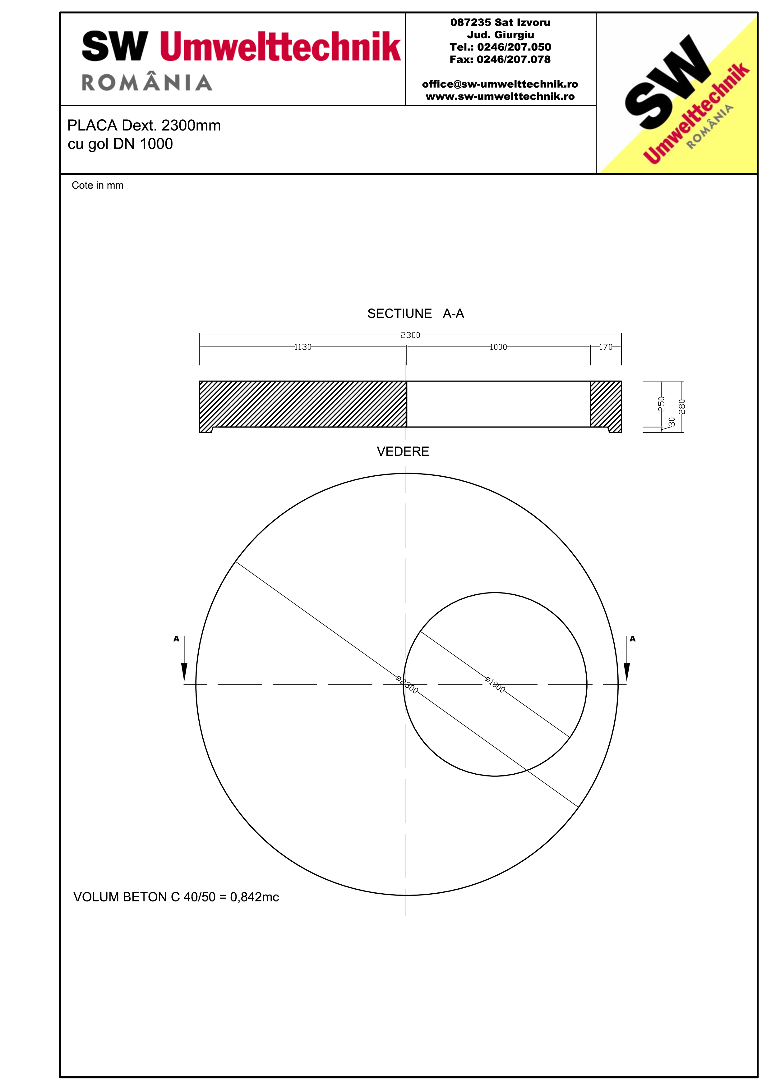 Pagina 1 - CAD-PDF Placa Dext.2300 H250 cu gol DN1000 SW UMWELTTECHNIK Detaliu de produs
