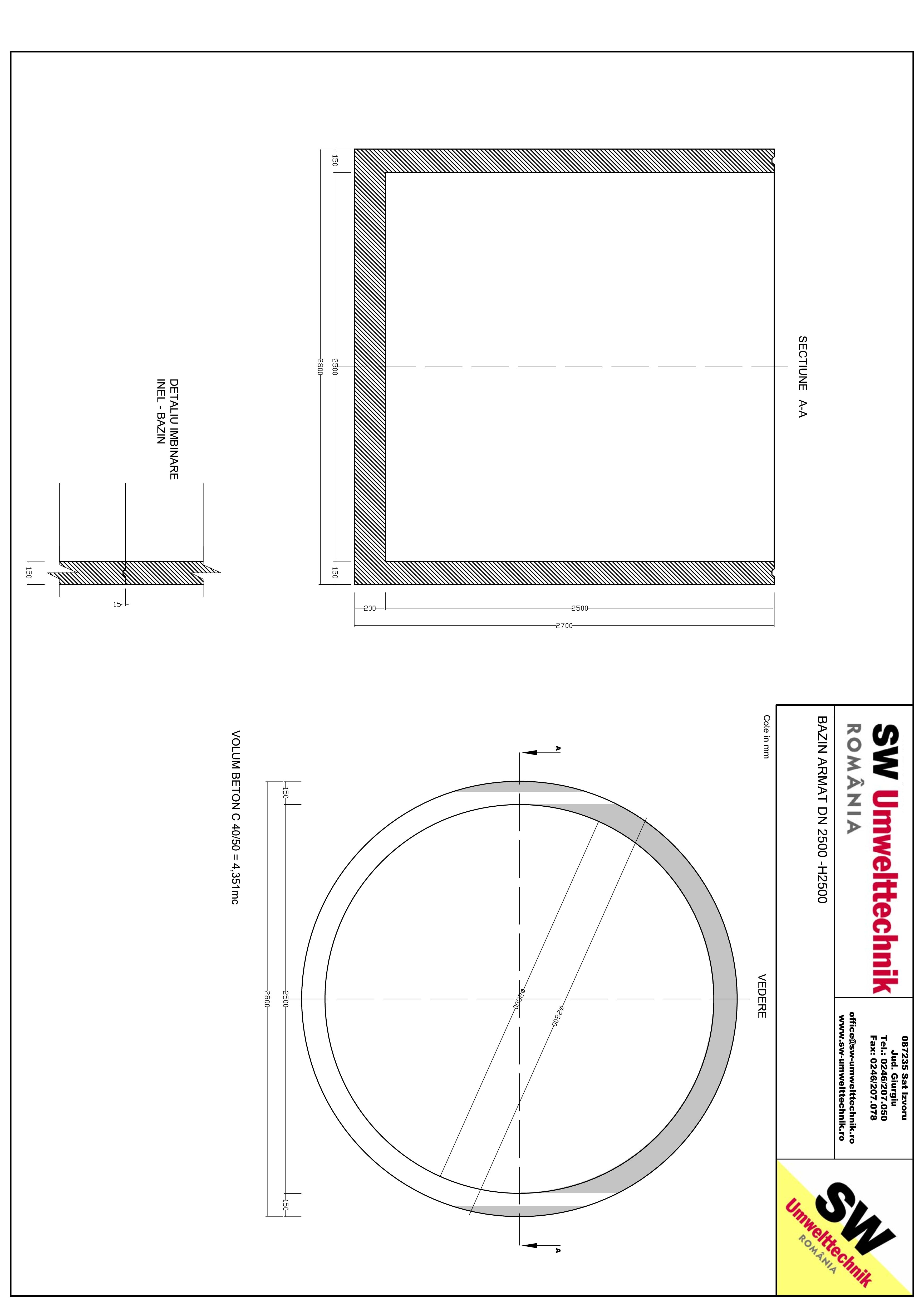Pagina 1 - CAD-PDF Bazin armat  DN2500 H2500 SW UMWELTTECHNIK Detaliu de produs