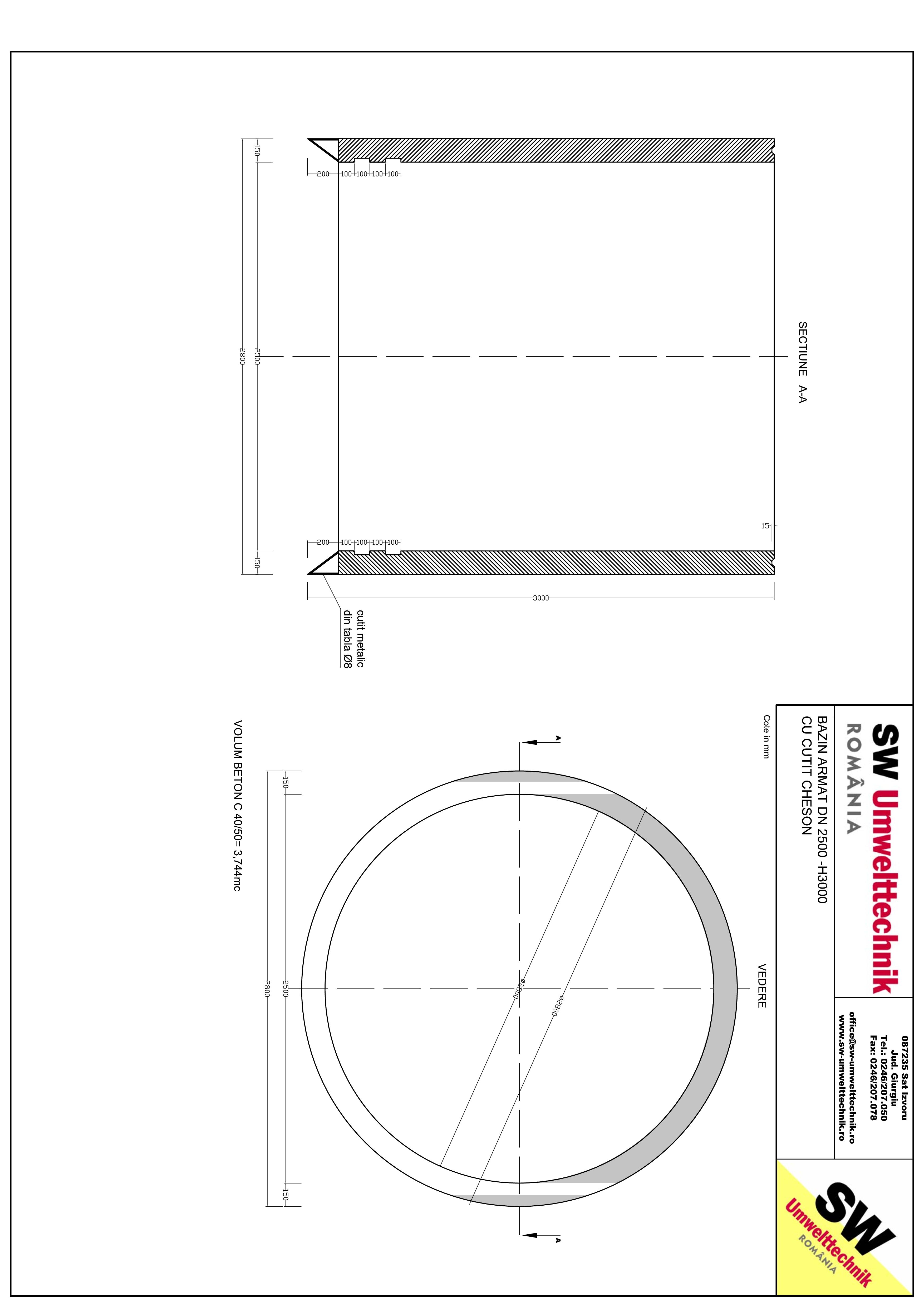 Pagina 1 - CAD-PDF Bazin armat DN2500 cheson H3000 SW UMWELTTECHNIK Detaliu de produs