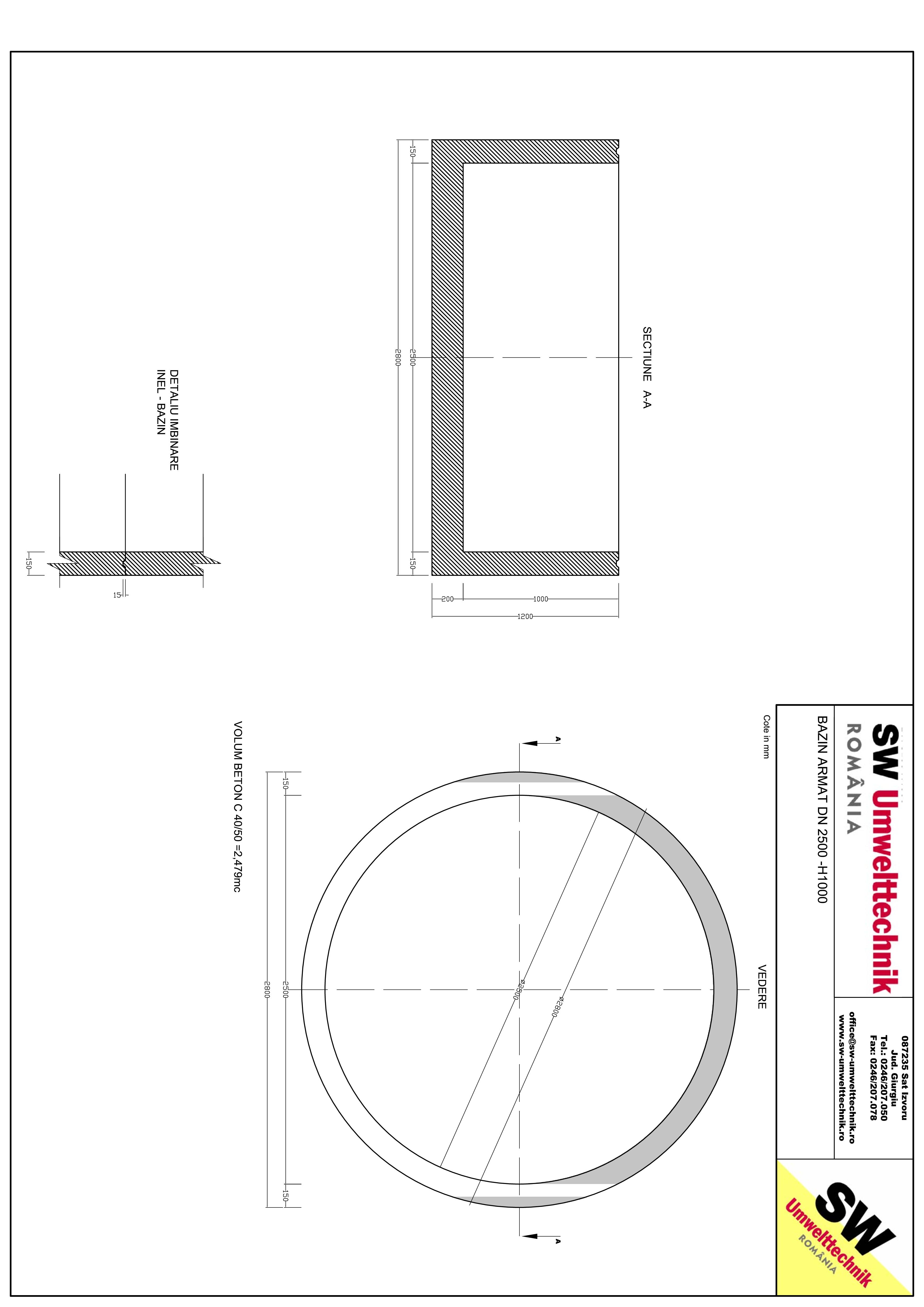 Pagina 1 - CAD-PDF Bazin armat DN2500 H1000 SW UMWELTTECHNIK Detaliu de produs