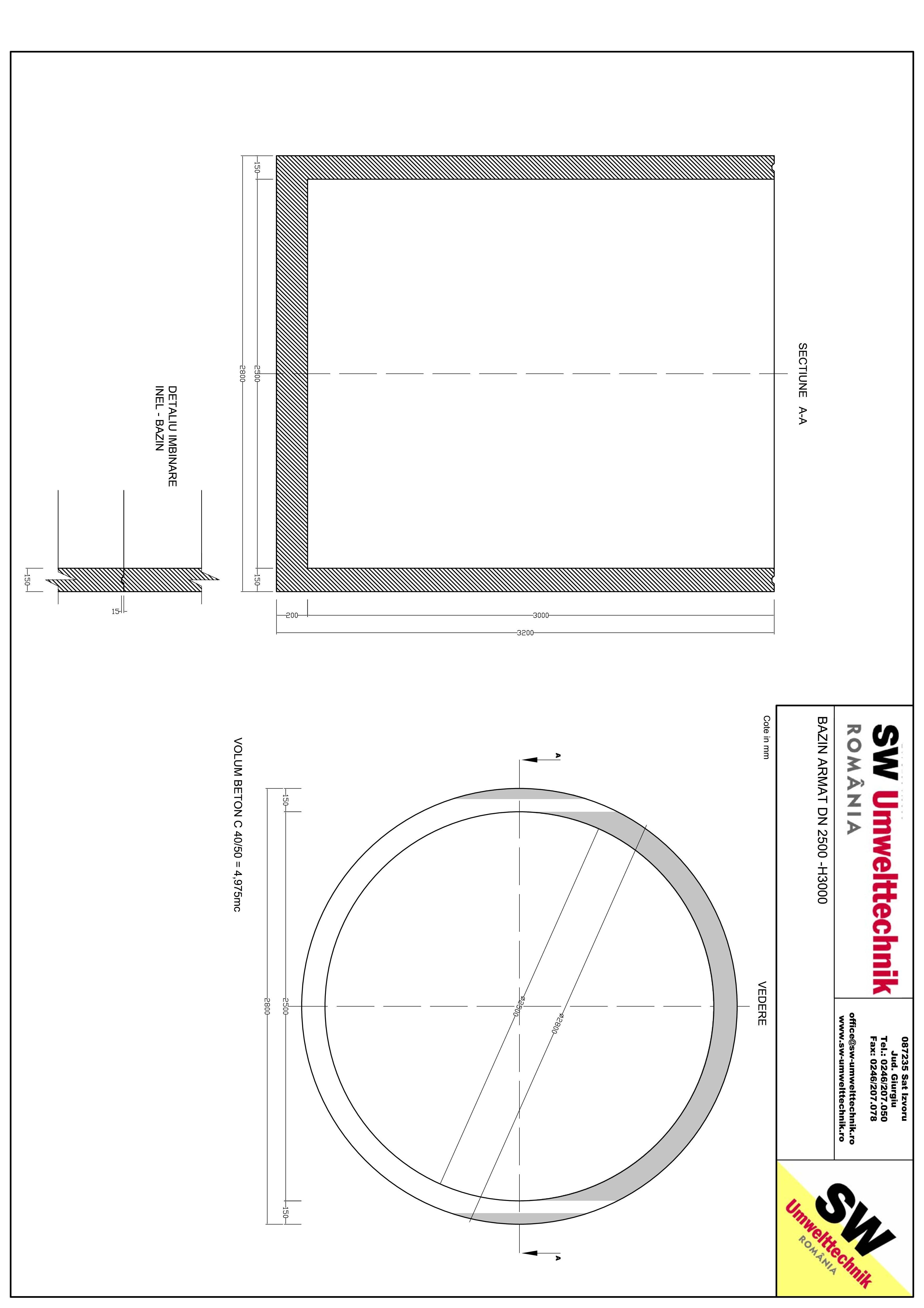 Pagina 1 - CAD-PDF Bazin armat DN2500 H3000 SW UMWELTTECHNIK Detaliu de produs