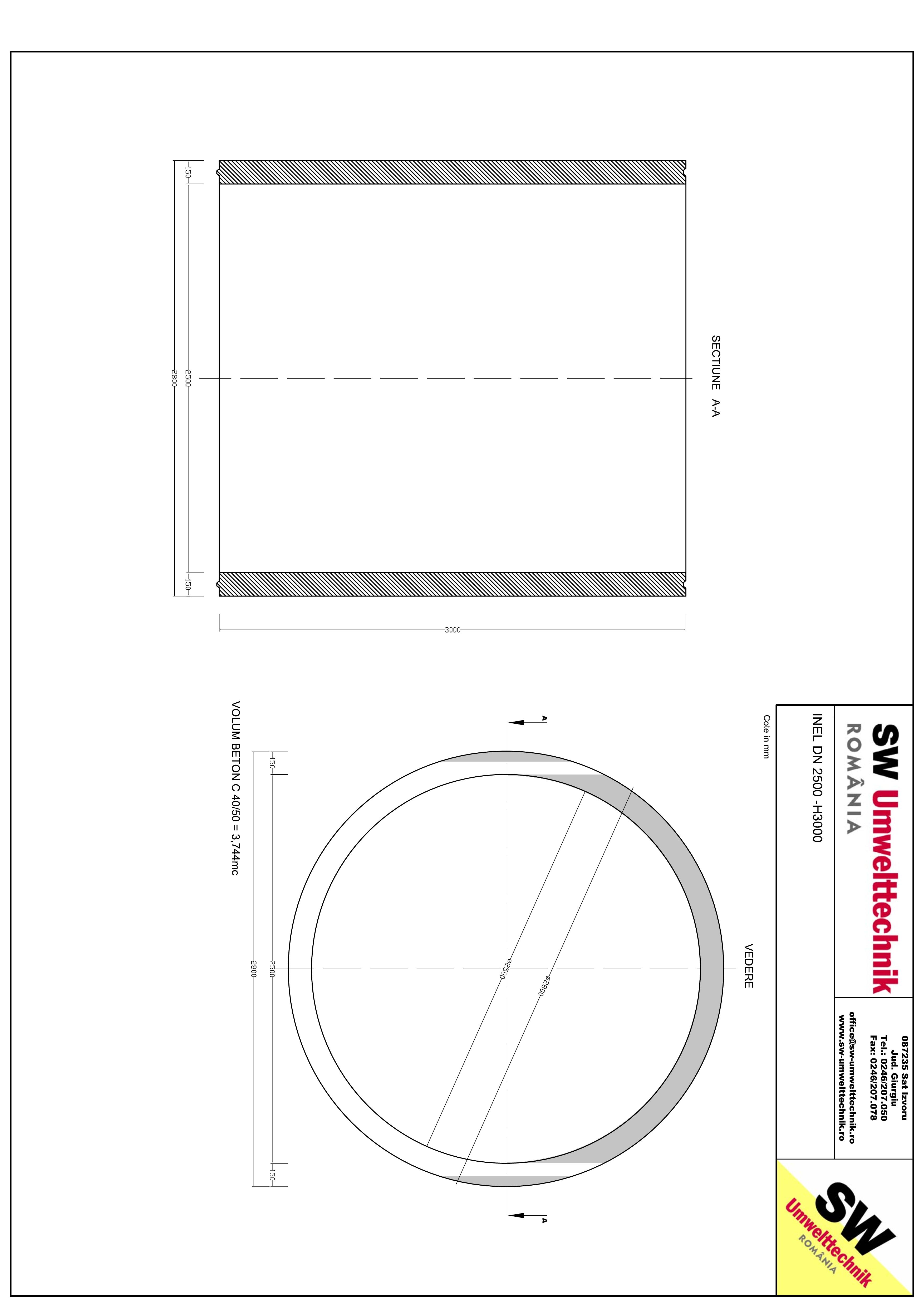 Pagina 1 - CAD-PDF Inel DN2500 - Inel H3000 SW UMWELTTECHNIK Detaliu de produs