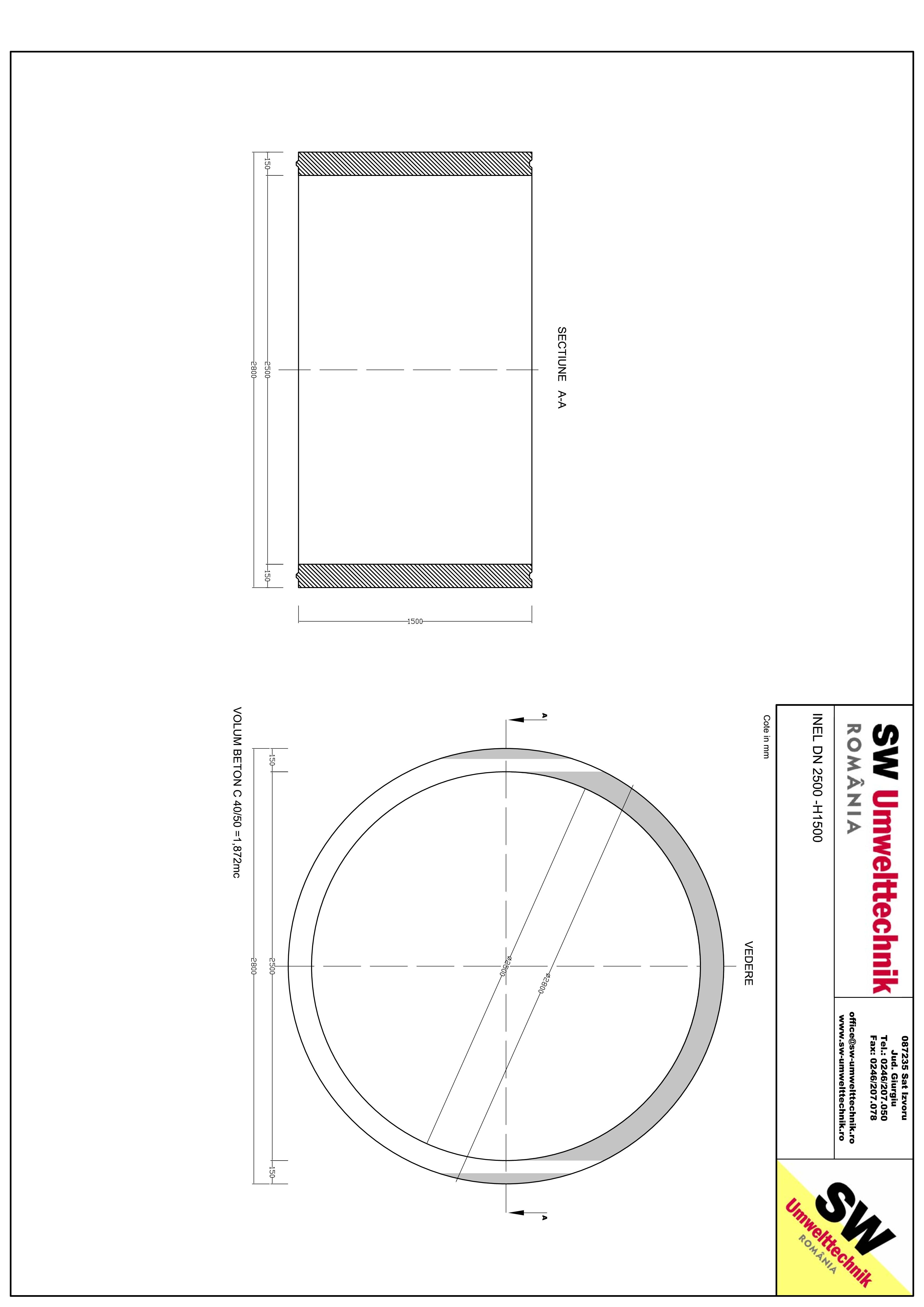 Pagina 1 - CAD-PDF Inel DN2500 - Inel H1500 SW UMWELTTECHNIK Detaliu de produs