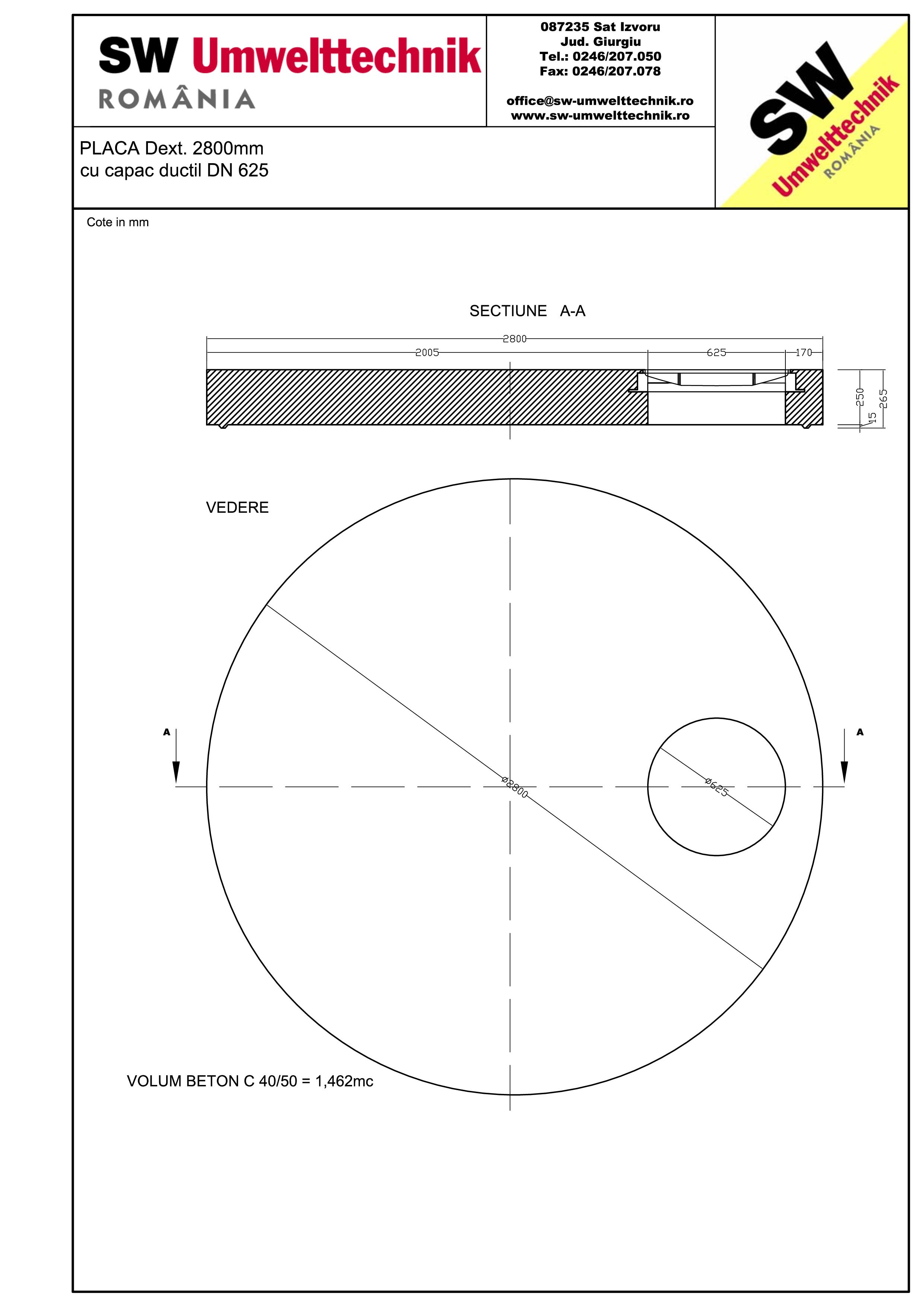 Pagina 1 - CAD-PDF Placa Dext. 2800 H250 cu capac ductil DN625 SW UMWELTTECHNIK Detaliu de produs