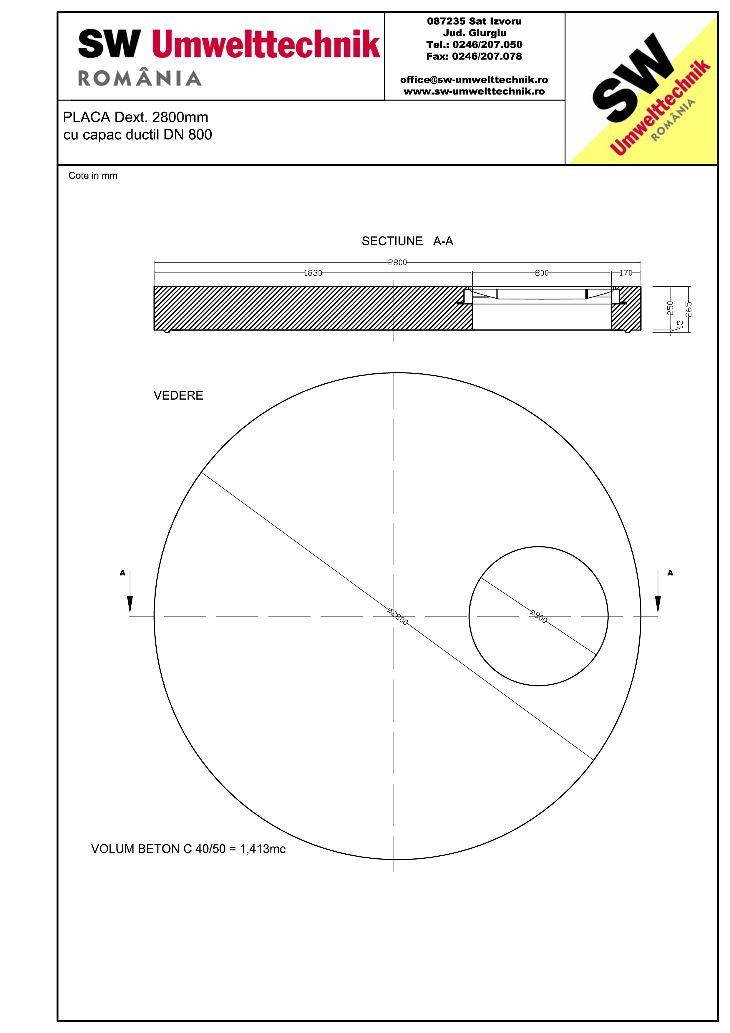 Pagina 1 - CAD-PDF Placa Dext. 2800 H250 cu capac ductil DN800 SW UMWELTTECHNIK Detaliu de produs