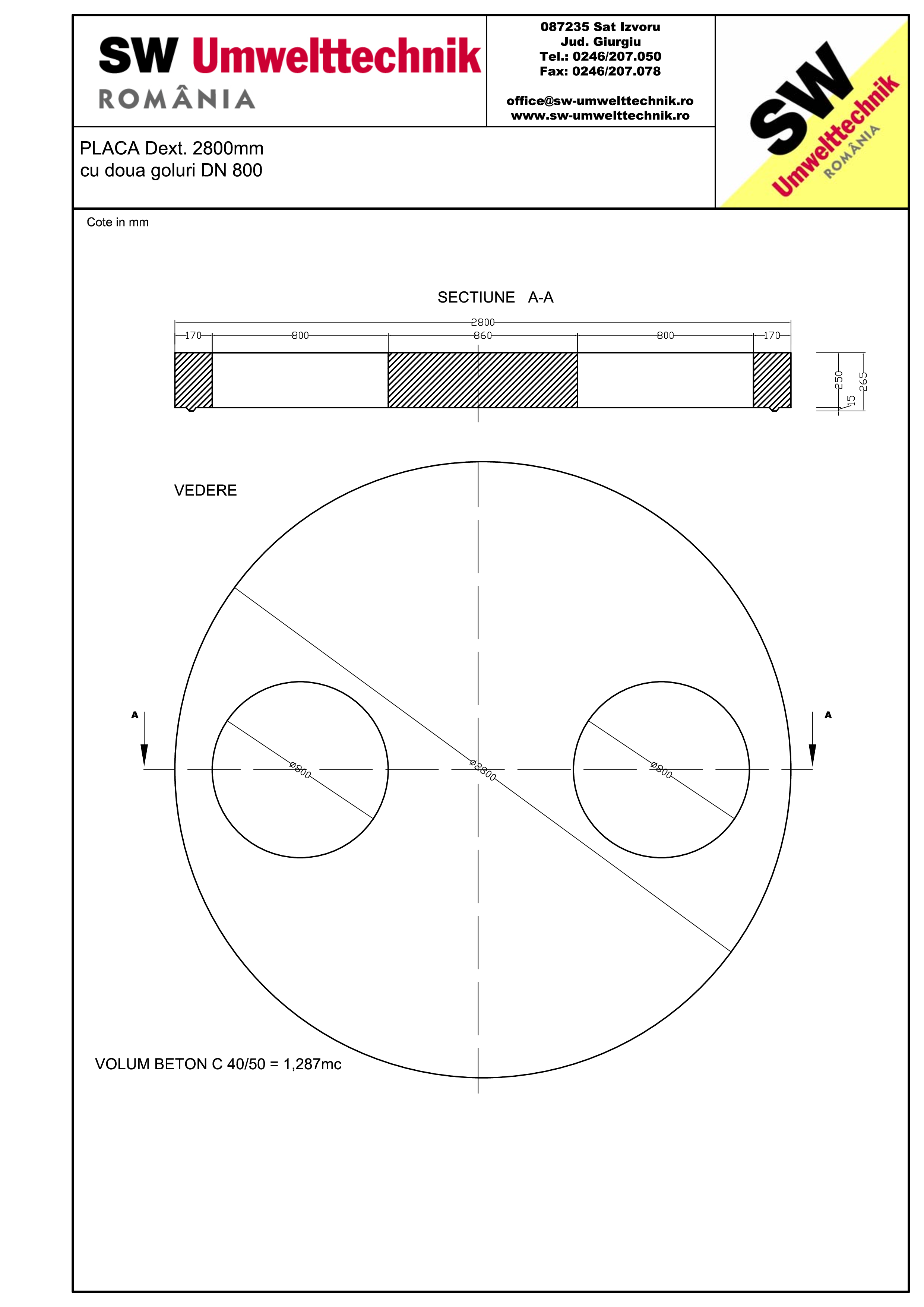Pagina 1 - CAD-PDF Placa Dext. 2800 H250 cu doua goluri DN800 SW UMWELTTECHNIK Detaliu de produs