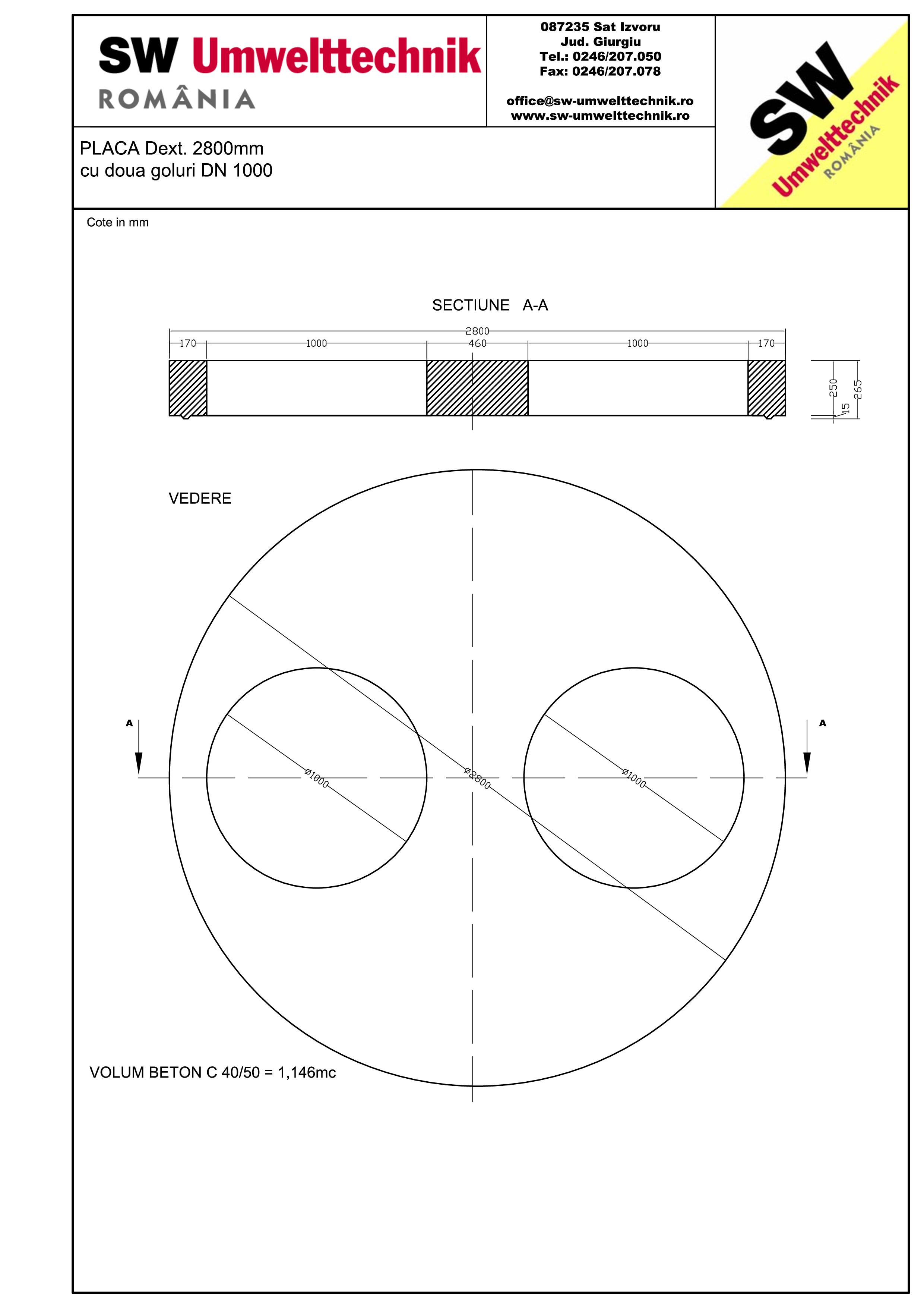 Pagina 1 - CAD-PDF Placa Dext. 2800 H250 cu doua goluri DN1000 SW UMWELTTECHNIK Detaliu de produs