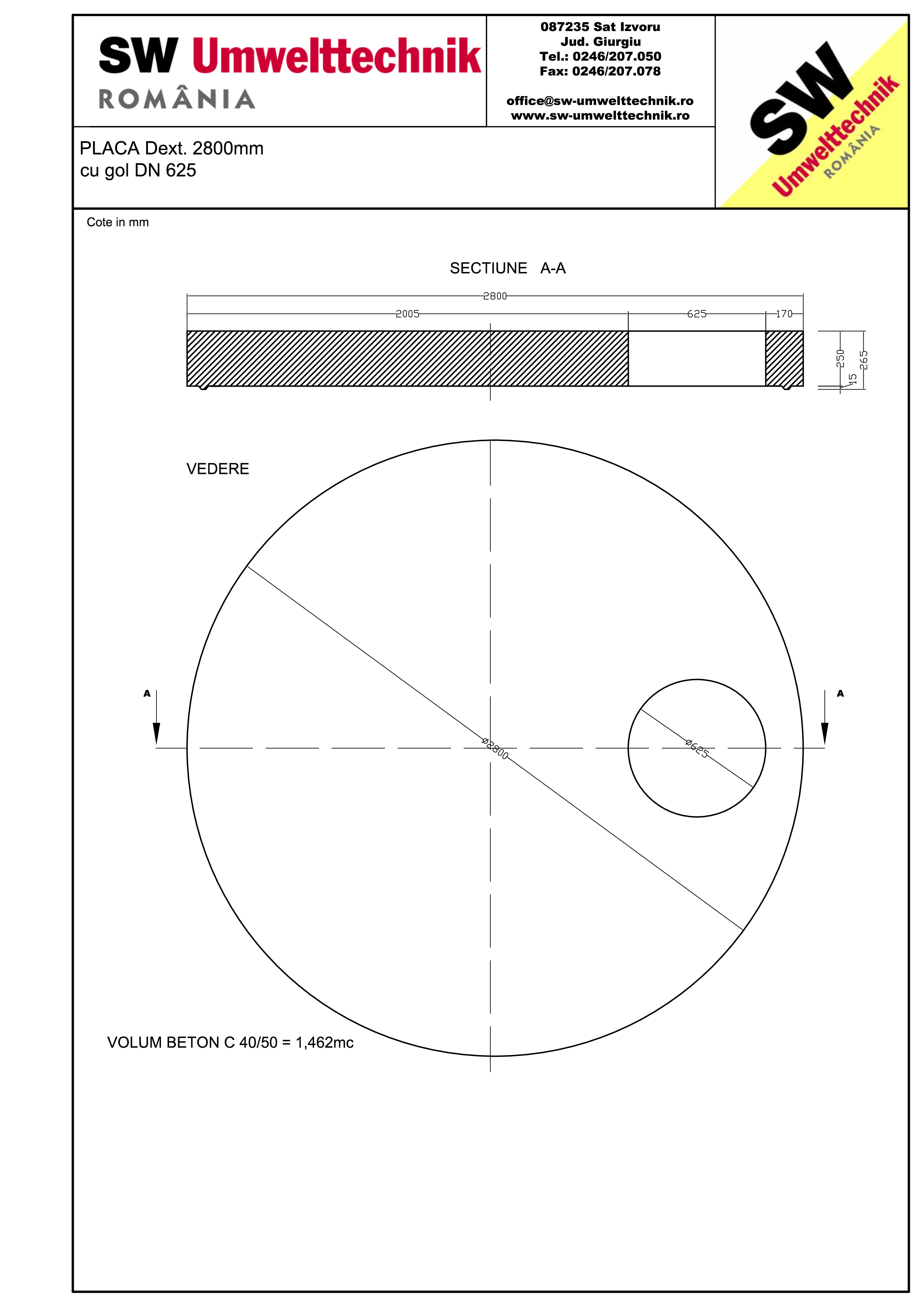 Pagina 1 - CAD-PDF Placa Dext. 2800 H250 cu gol DN625 SW UMWELTTECHNIK Detaliu de produs