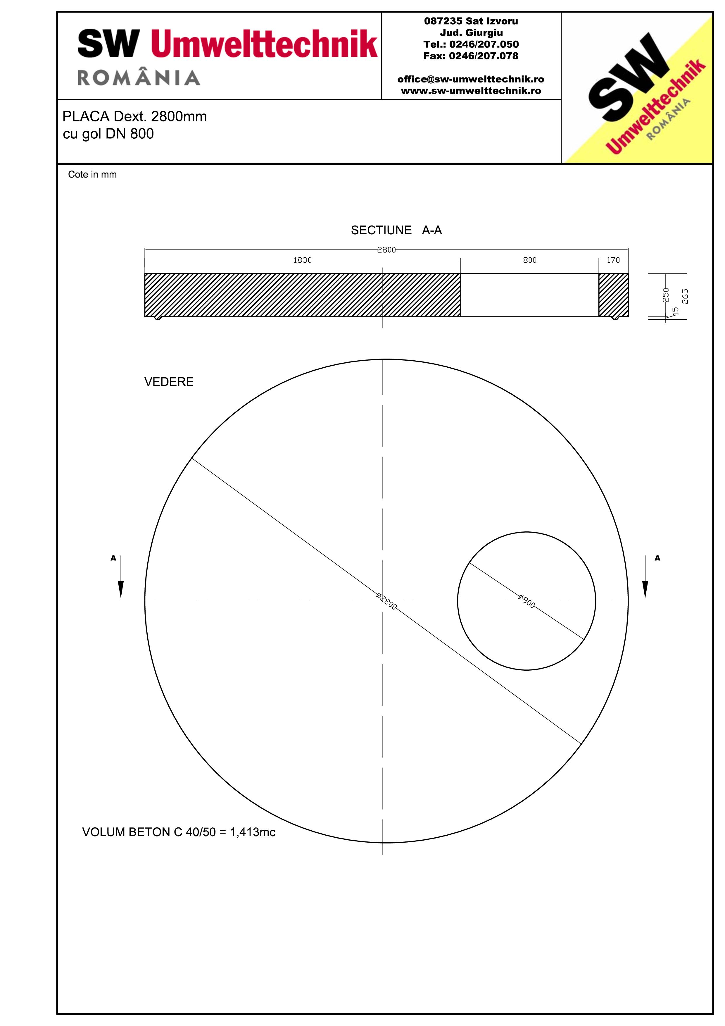 Pagina 1 - CAD-PDF Placa Dext. 2800 H250 cu gol DN800 SW UMWELTTECHNIK Detaliu de produs